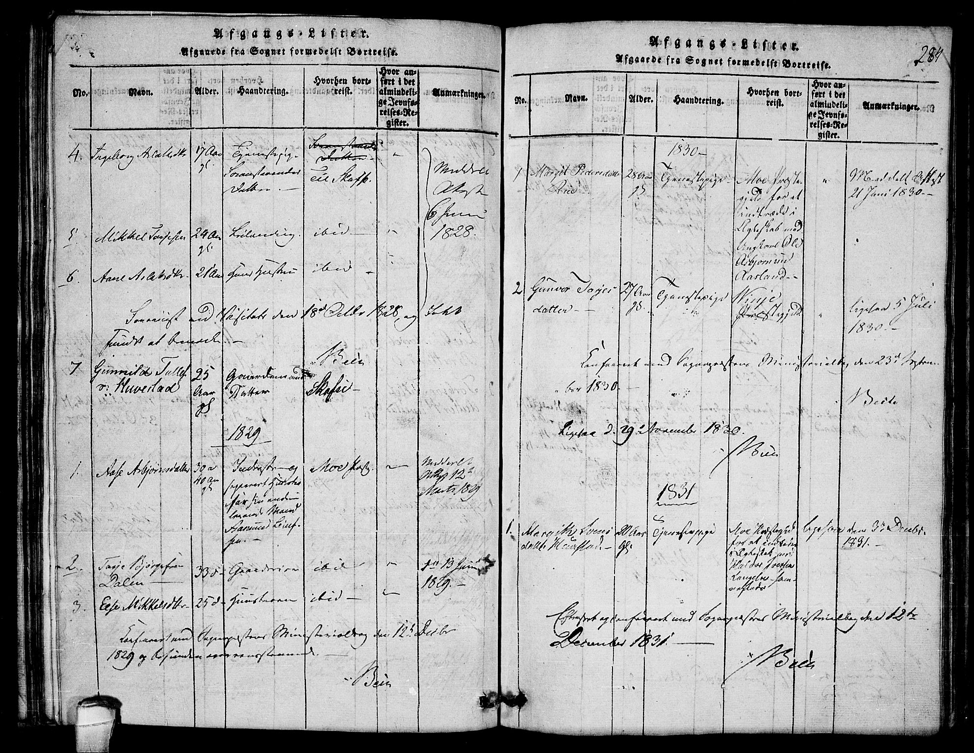 SAKO, Lårdal kirkebøker, G/Gb/L0001: Klokkerbok nr. II 1, 1815-1865, s. 284