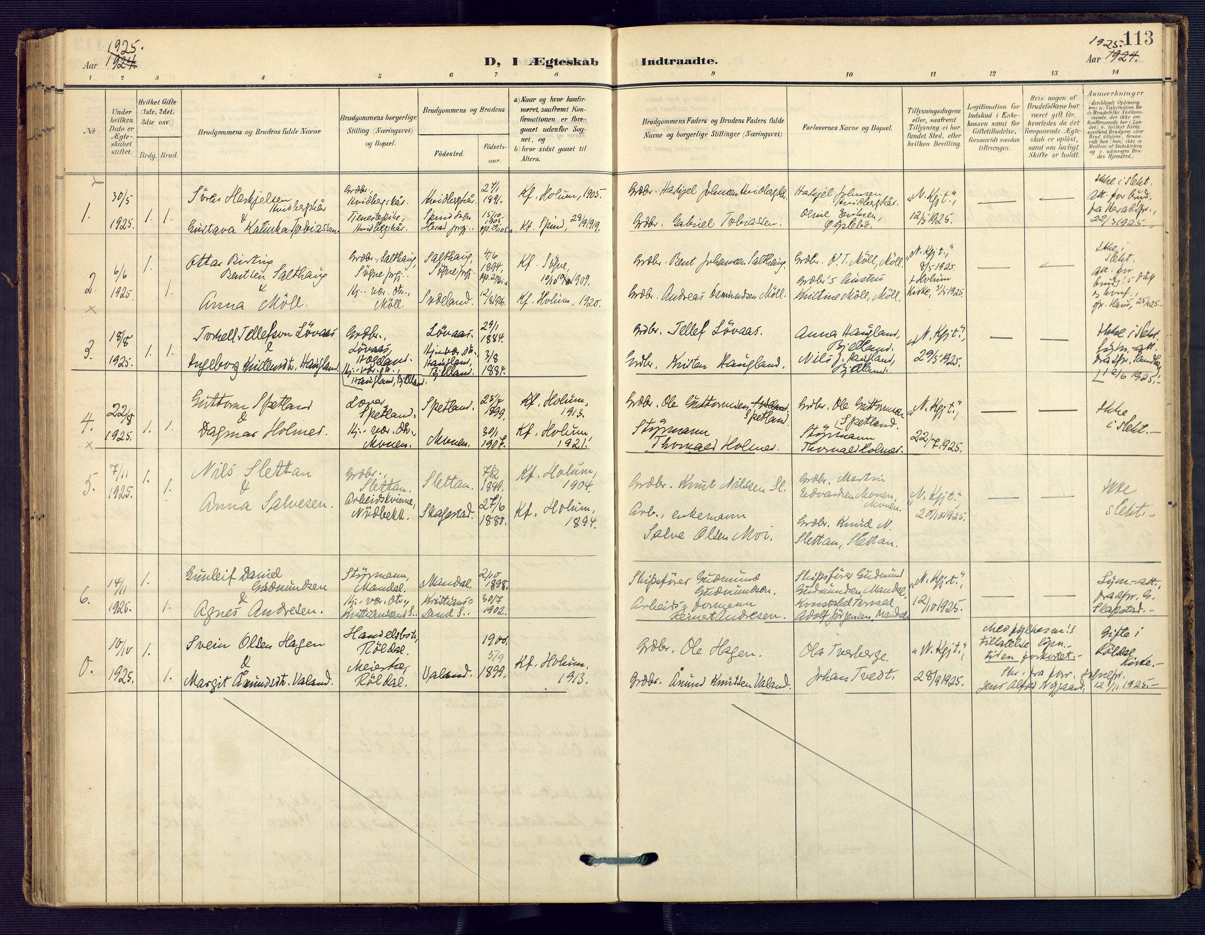 SAK, Holum sokneprestkontor, F/Fa/Faa/L0008: Ministerialbok nr. A 8, 1908-1929, s. 113