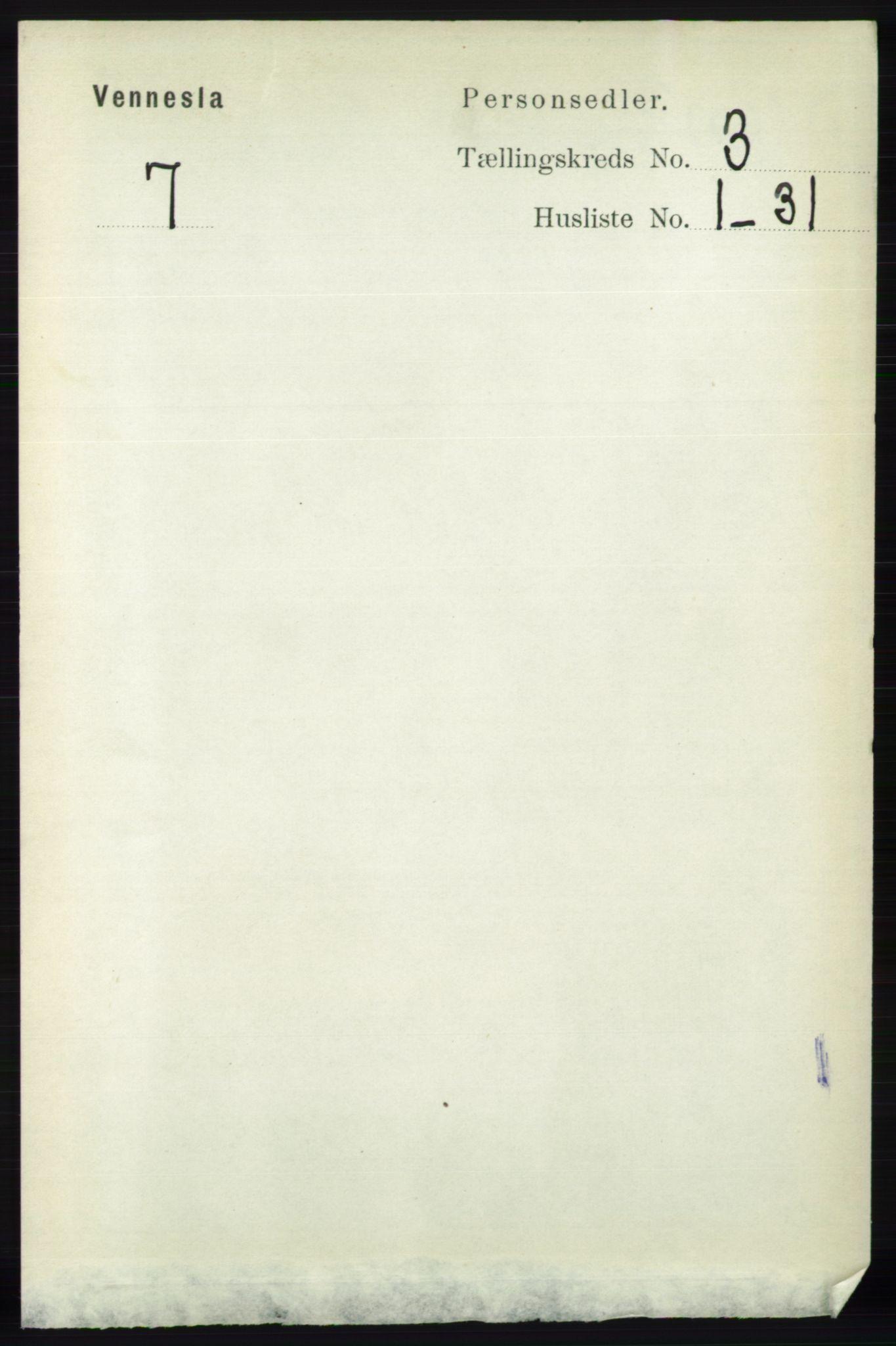 RA, Folketelling 1891 for 1014 Vennesla herred, 1891, s. 641