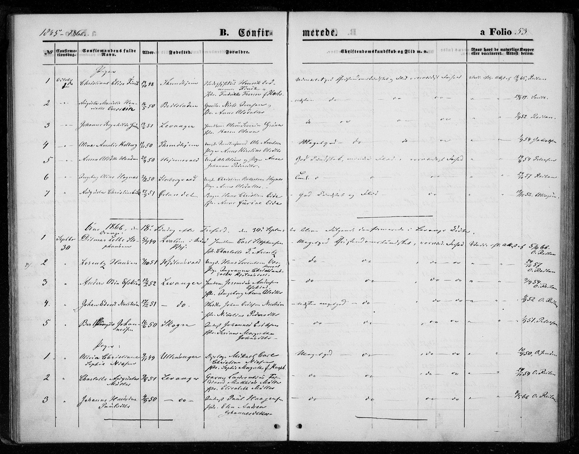 SAT, Ministerialprotokoller, klokkerbøker og fødselsregistre - Nord-Trøndelag, 720/L0186: Ministerialbok nr. 720A03, 1864-1874, s. 53