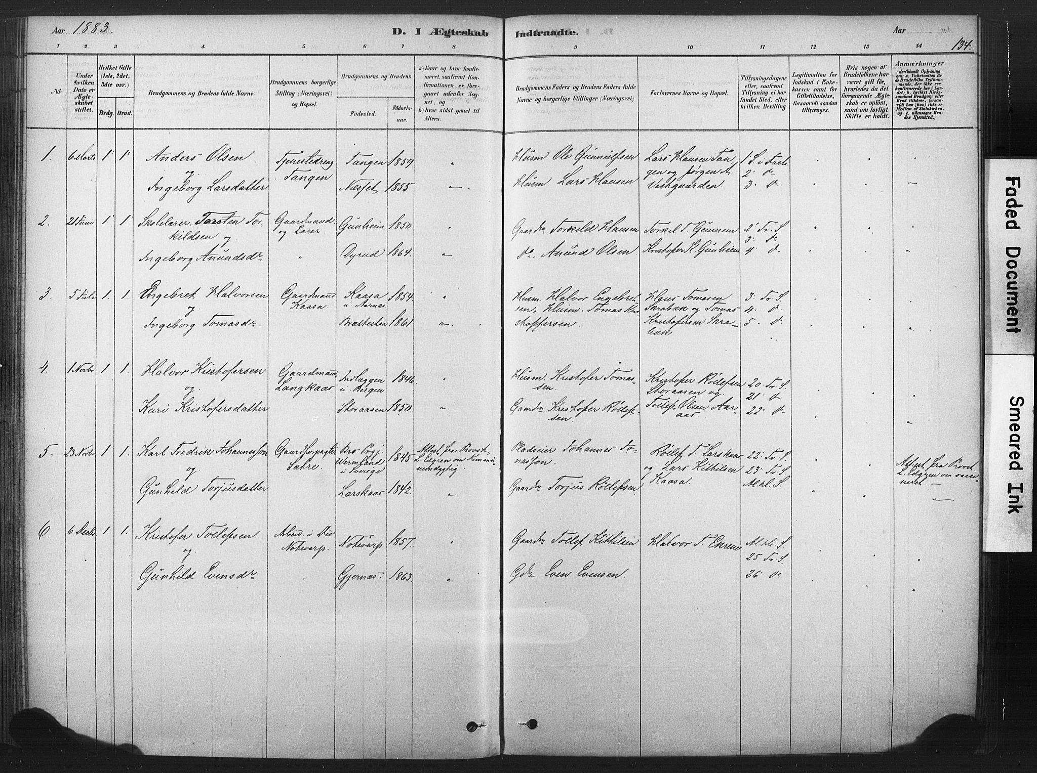 SAKO, Sauherad kirkebøker, F/Fb/L0002: Ministerialbok nr. II 2, 1878-1901, s. 134