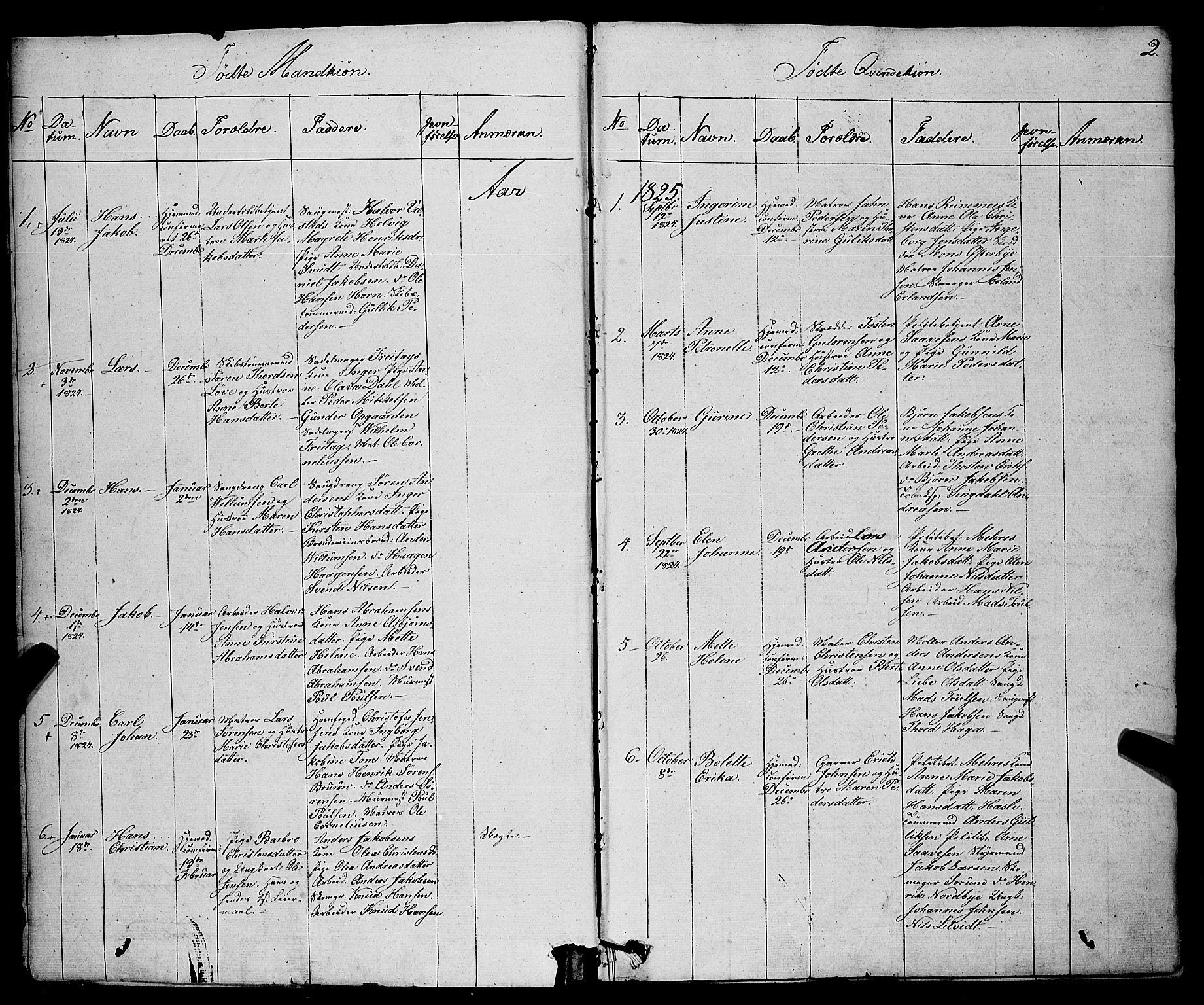 SAKO, Larvik kirkebøker, F/Fa/L0002: Ministerialbok nr. I 2, 1825-1847, s. 2