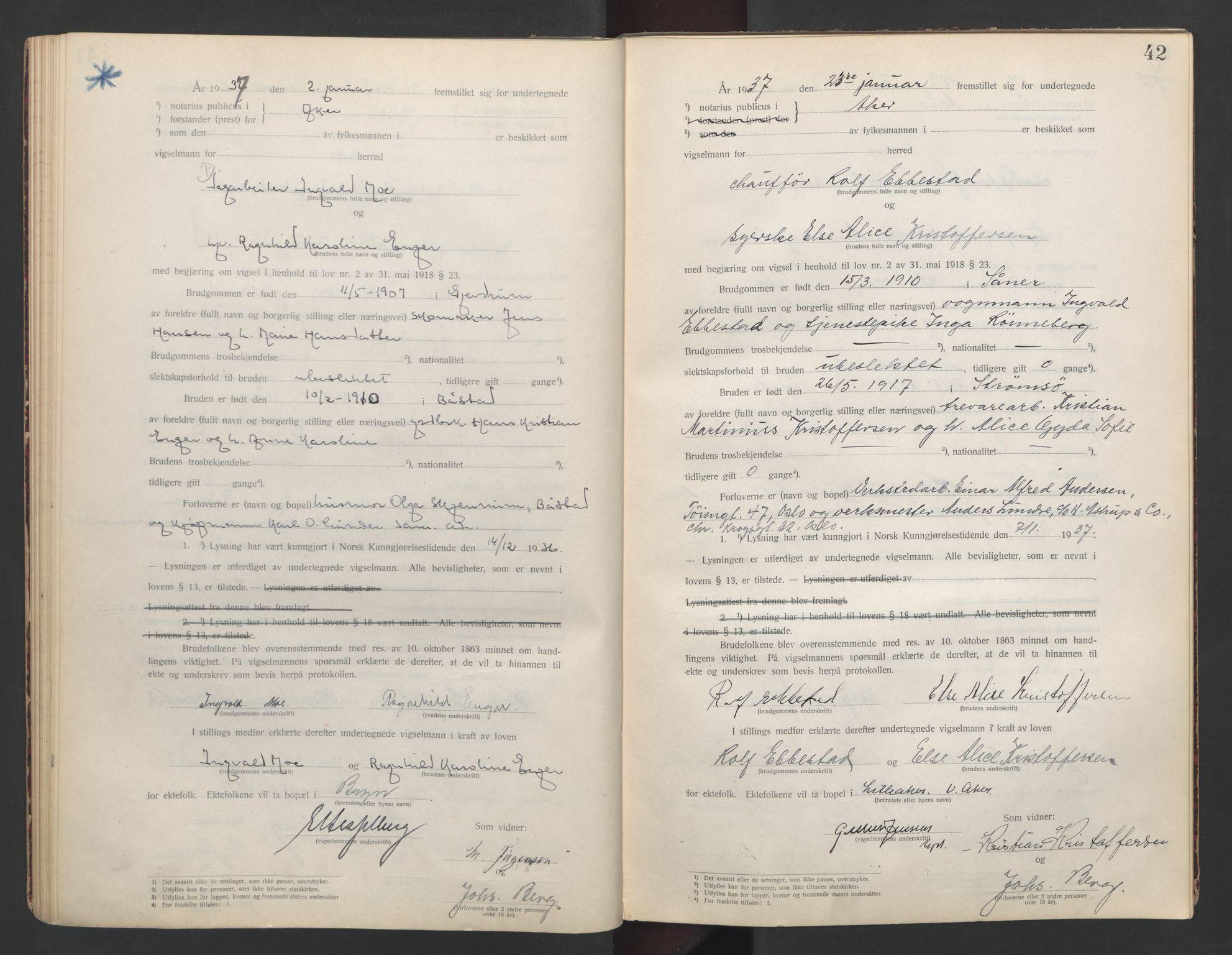 SAO, Aker sorenskriveri, L/Lc/Lcb/L0009: Vigselprotokoll, 1936-1937, s. 42