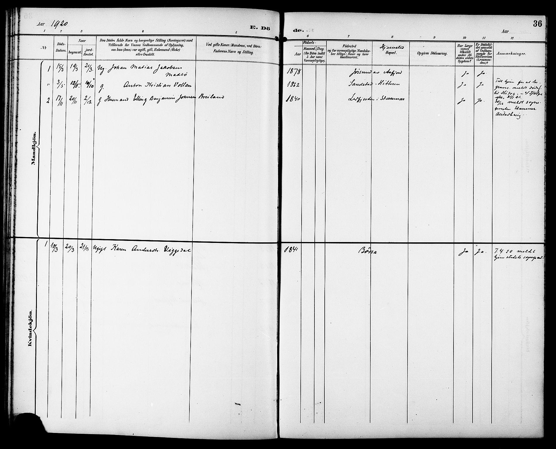 SAT, Ministerialprotokoller, klokkerbøker og fødselsregistre - Sør-Trøndelag, 629/L0486: Ministerialbok nr. 629A02, 1894-1919, s. 36