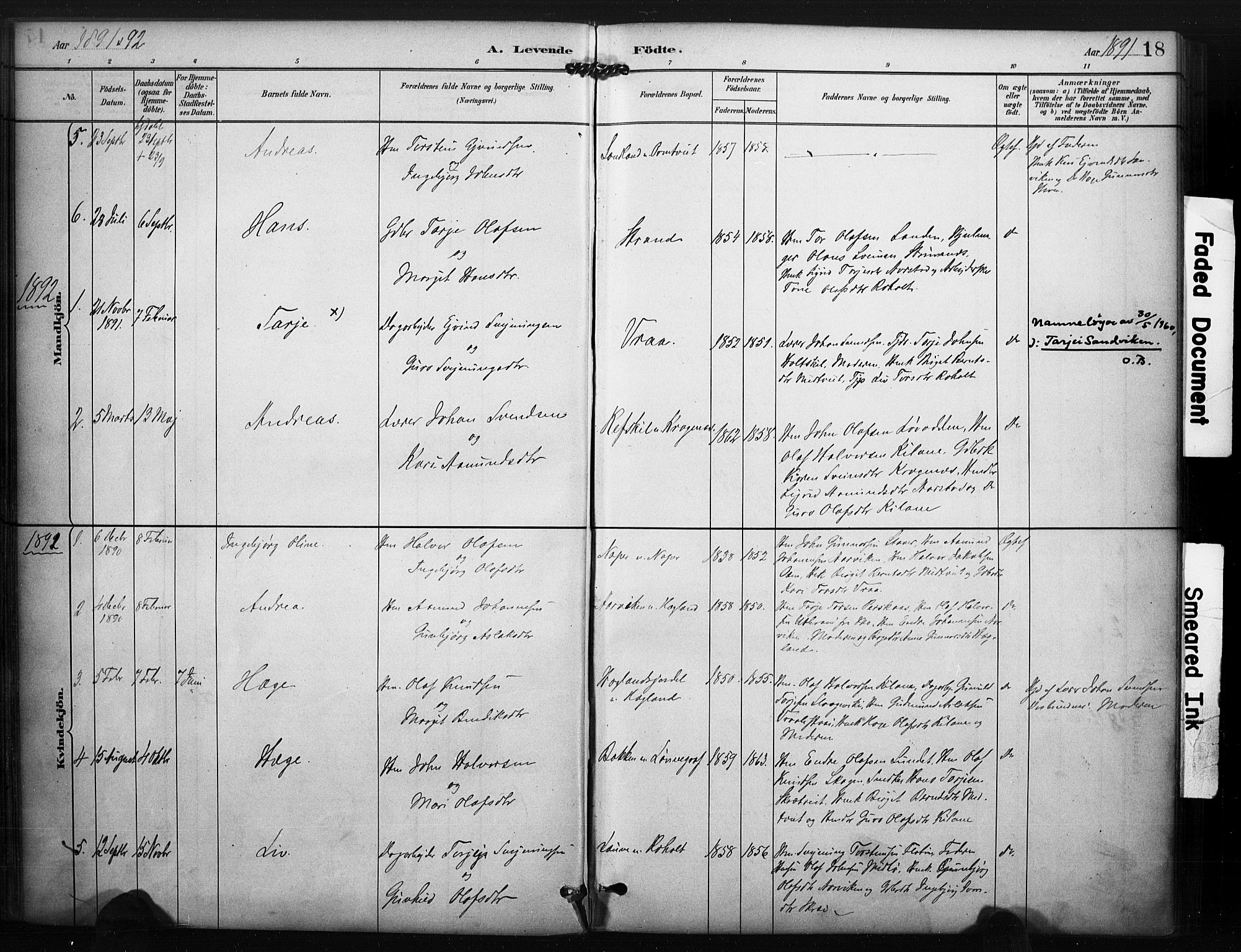 SAKO, Kviteseid kirkebøker, F/Fc/L0002: Ministerialbok nr. III 2, 1882-1908, s. 18