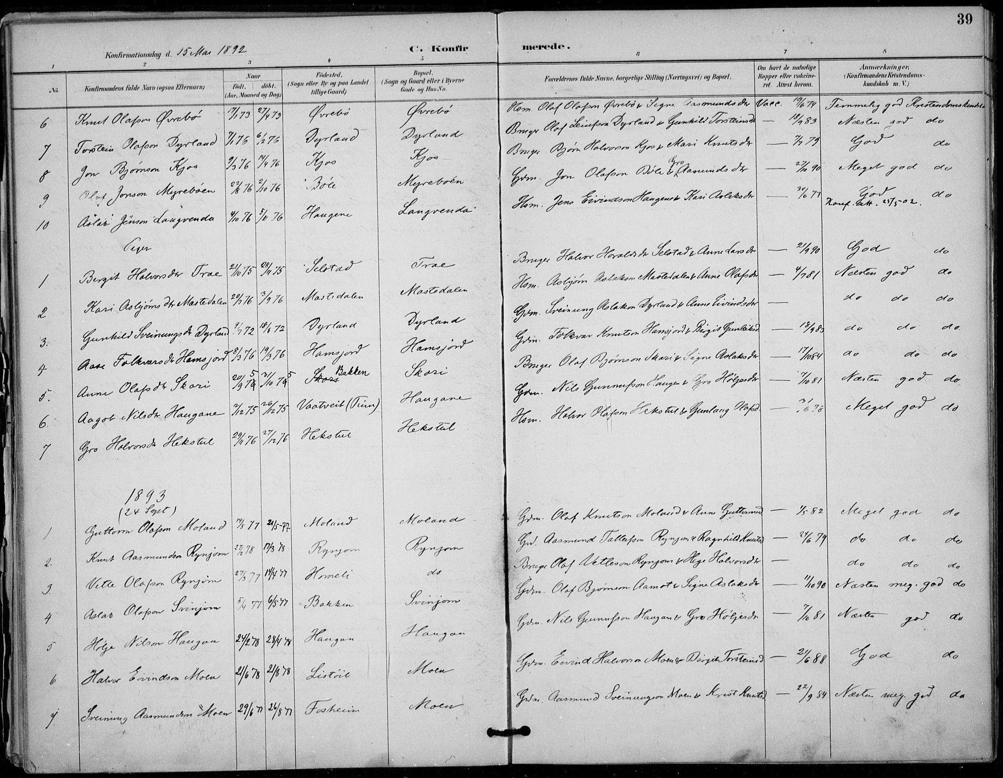SAKO, Seljord kirkebøker, F/Fc/L0002: Ministerialbok nr. III 2, 1887-1920, s. 39