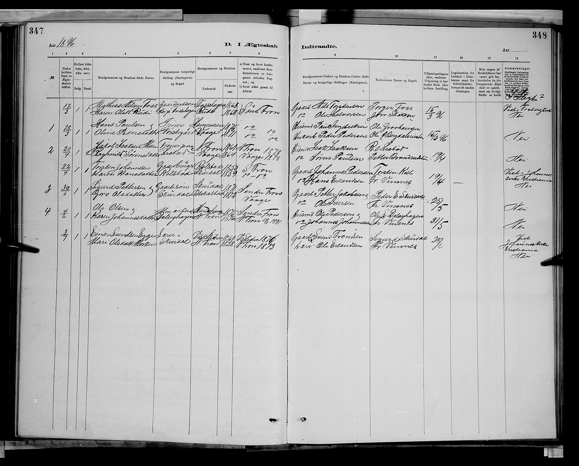 SAH, Sør-Fron prestekontor, H/Ha/Hab/L0003: Klokkerbok nr. 3, 1884-1896, s. 347-348