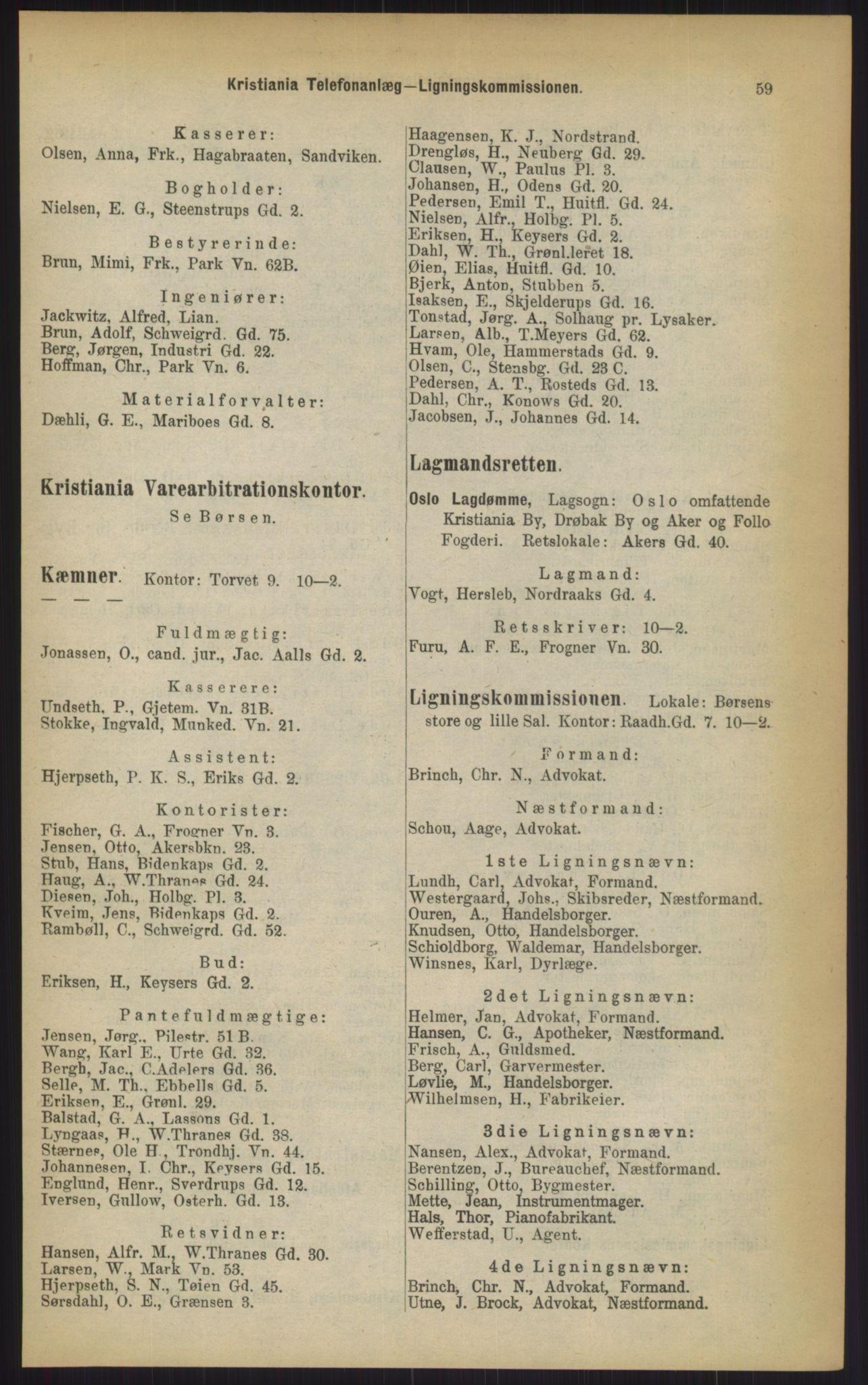 RA, Kristiania adressebok (publikasjon)*, 1903, s. 59
