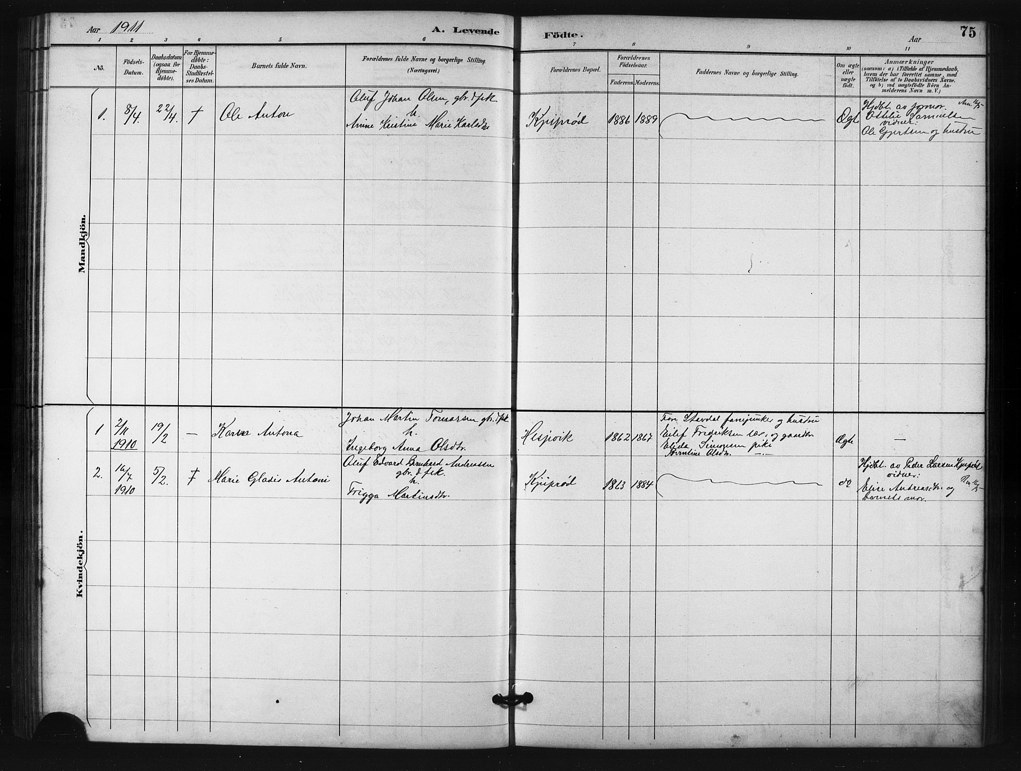 SATØ, Salangen sokneprestembete, H/Ha/L0001klokker: Klokkerbok nr. 1, 1893-1910, s. 75