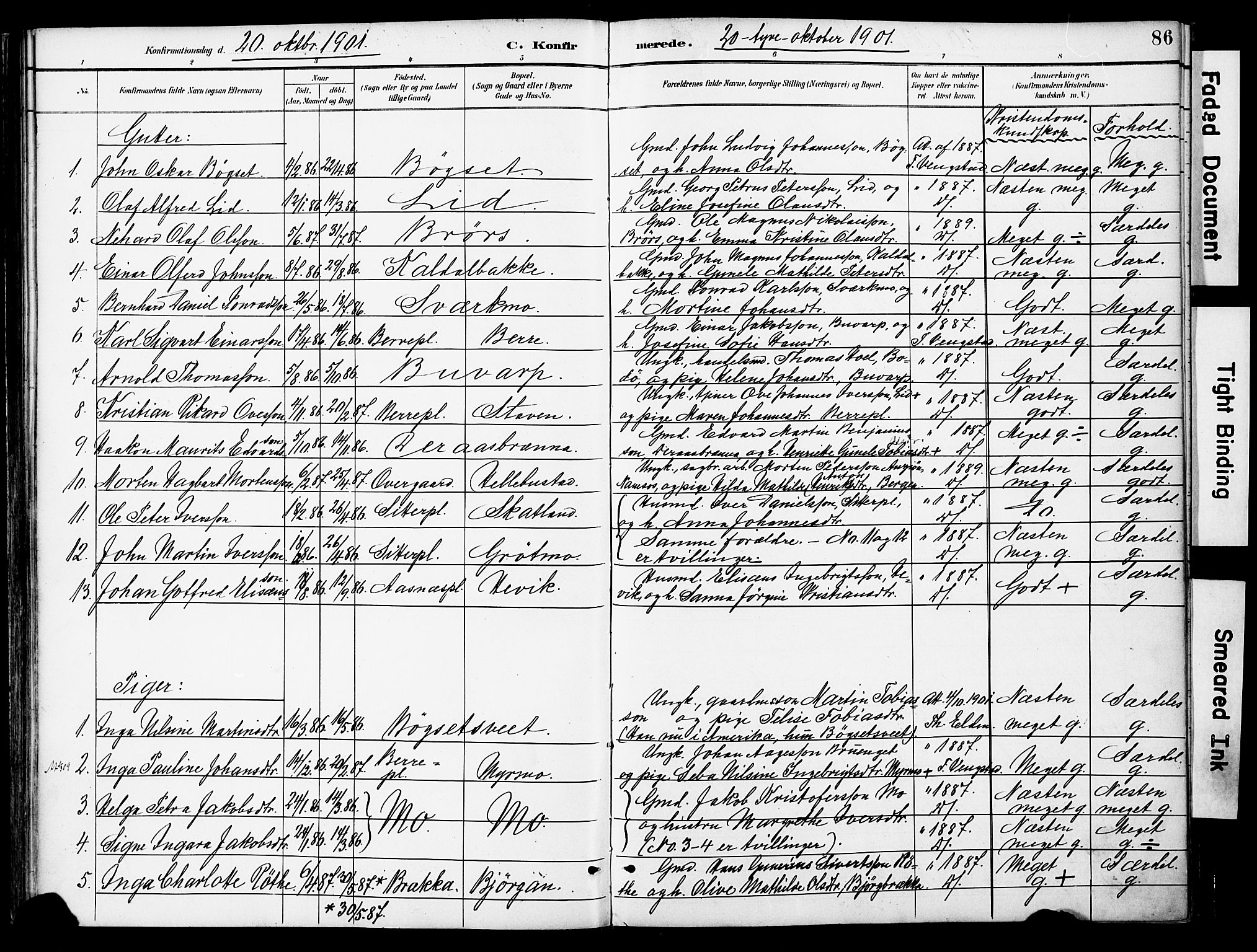 SAT, Ministerialprotokoller, klokkerbøker og fødselsregistre - Nord-Trøndelag, 742/L0409: Ministerialbok nr. 742A02, 1891-1905, s. 86