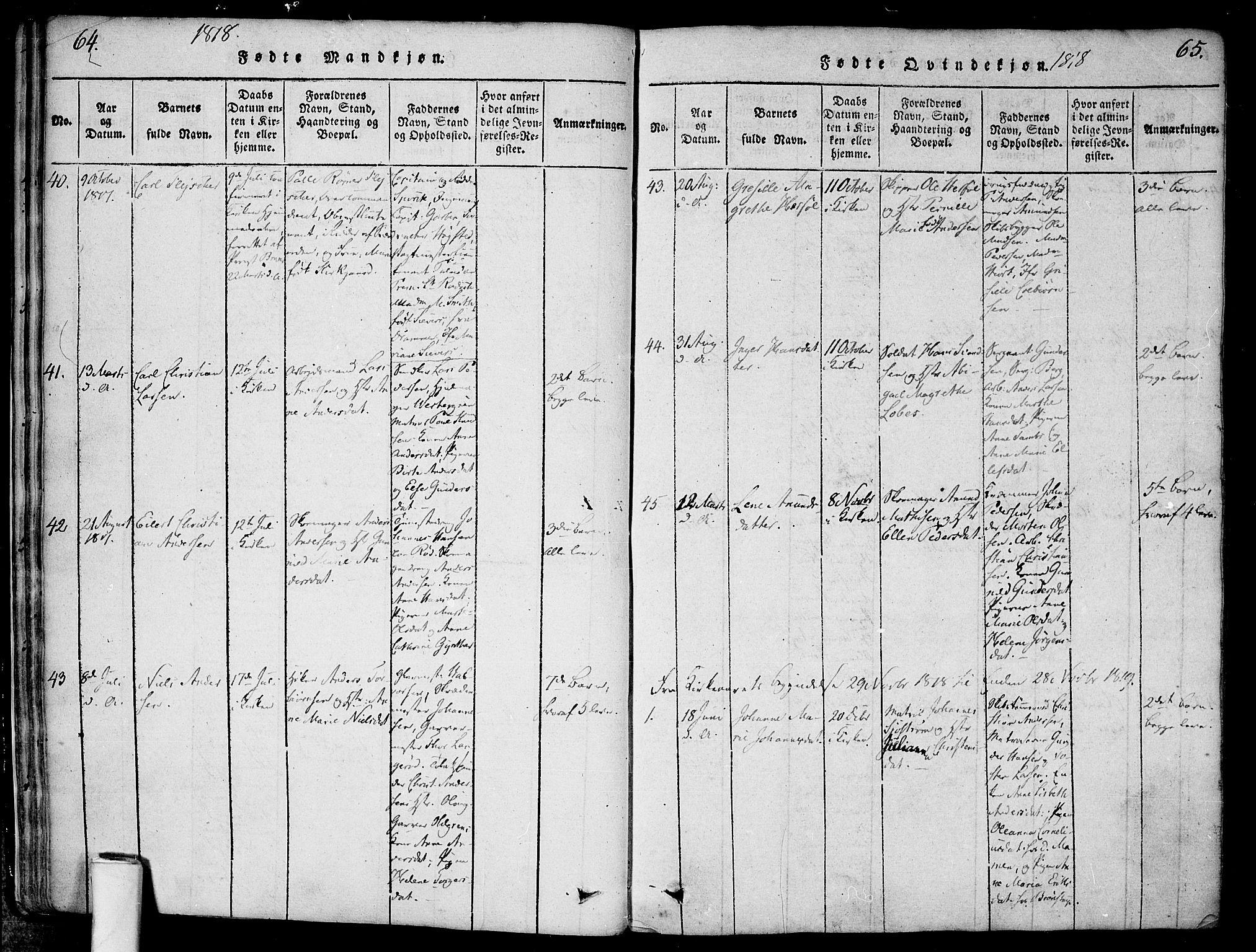 SAO, Halden prestekontor Kirkebøker, F/Fa/L0003: Ministerialbok nr. I 3, 1815-1834, s. 64-65