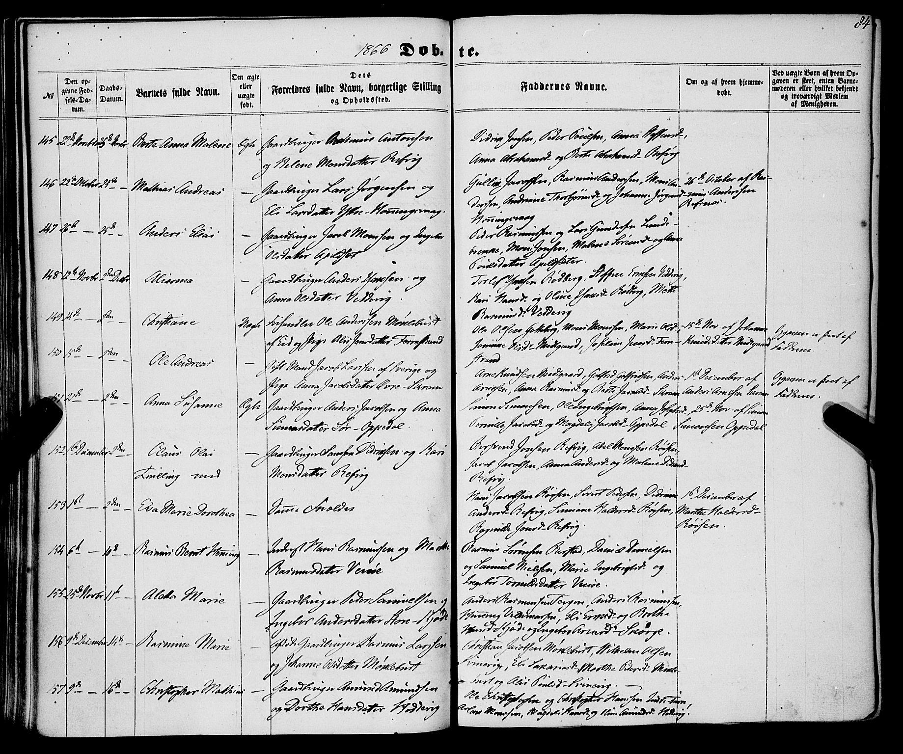 SAB, Selje sokneprestembete*, Ministerialbok nr. A 11, 1858-1870, s. 84
