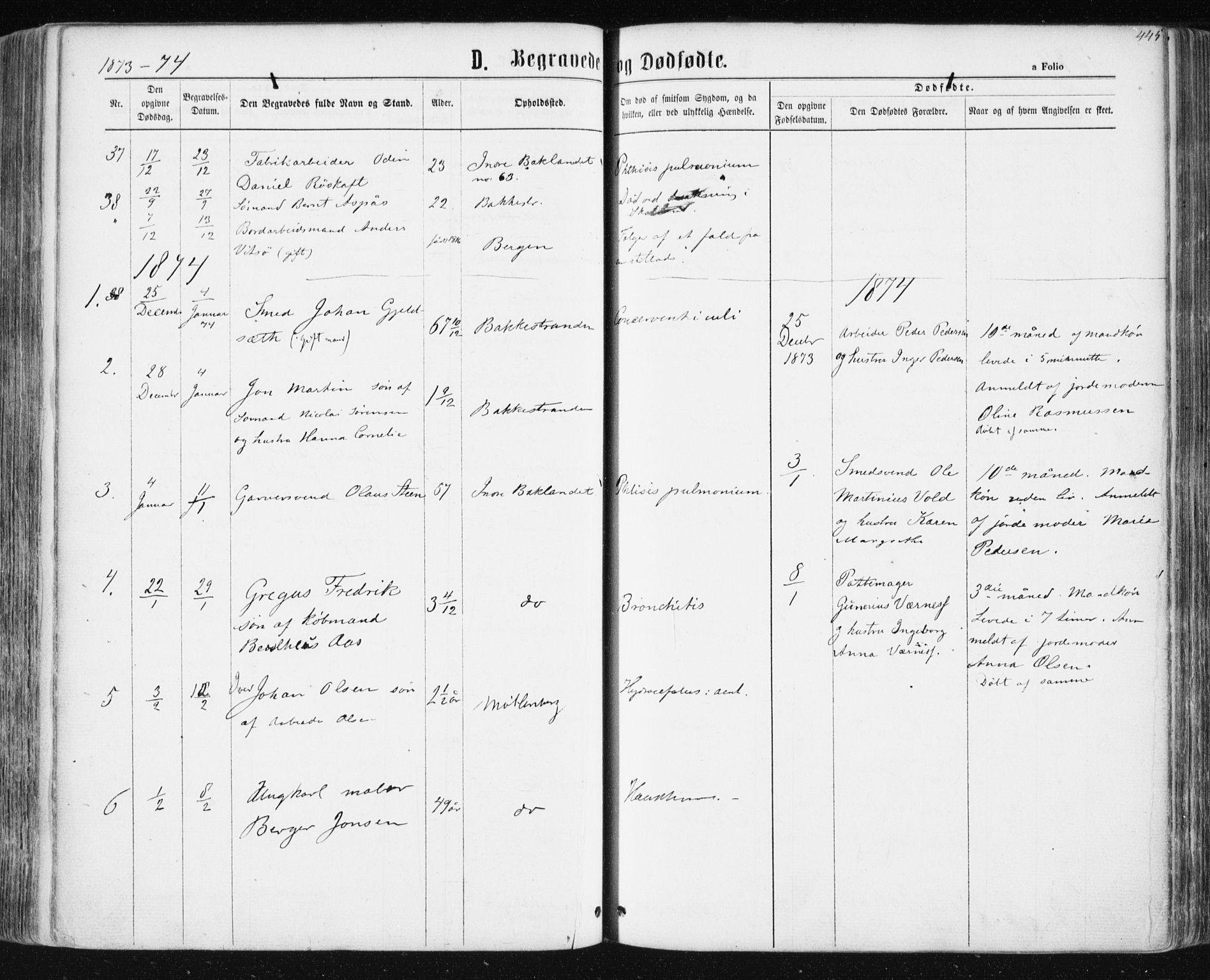SAT, Ministerialprotokoller, klokkerbøker og fødselsregistre - Sør-Trøndelag, 604/L0186: Ministerialbok nr. 604A07, 1866-1877, s. 445