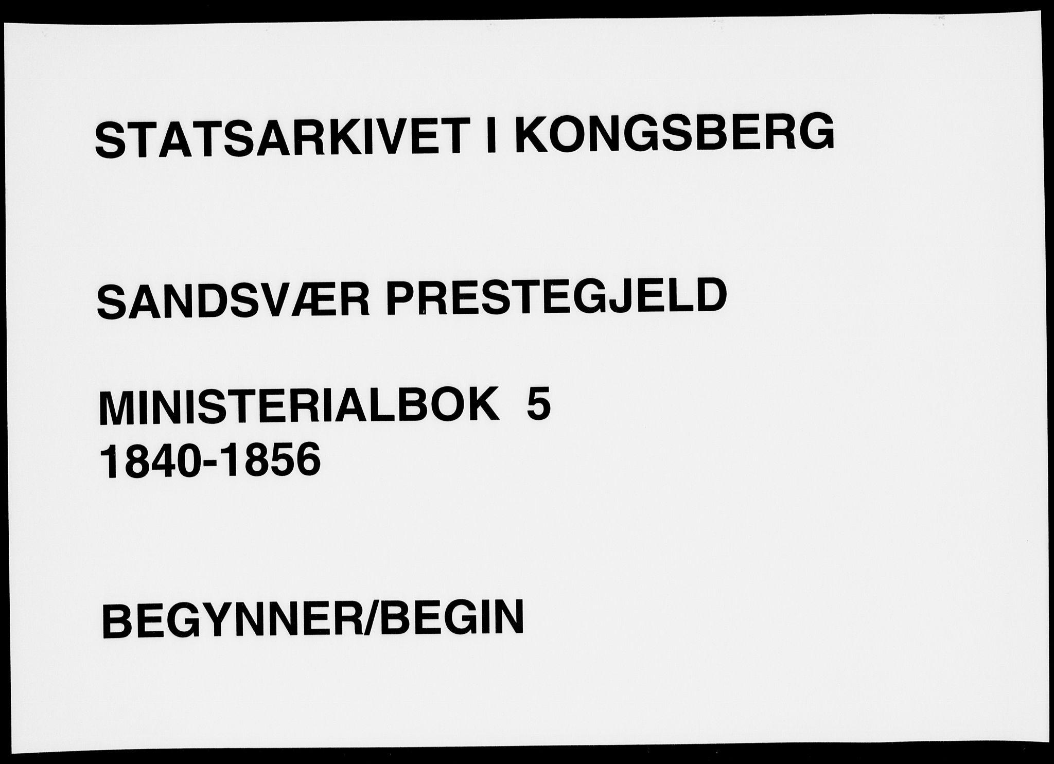 SAKO, Sandsvær kirkebøker, F/Fa/L0005: Ministerialbok nr. I 5, 1840-1856