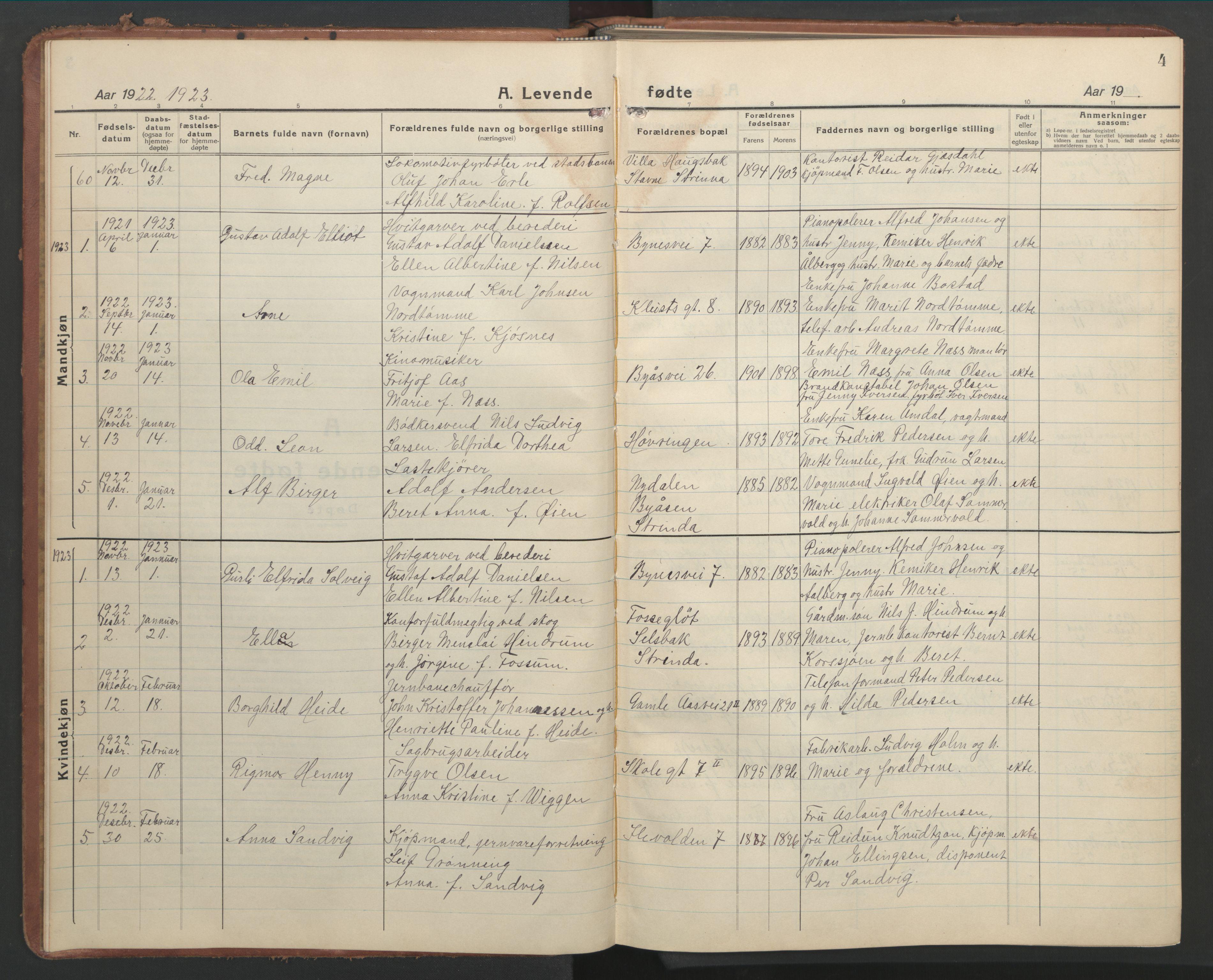 SAT, Ministerialprotokoller, klokkerbøker og fødselsregistre - Sør-Trøndelag, 603/L0174: Klokkerbok nr. 603C02, 1923-1951, s. 4