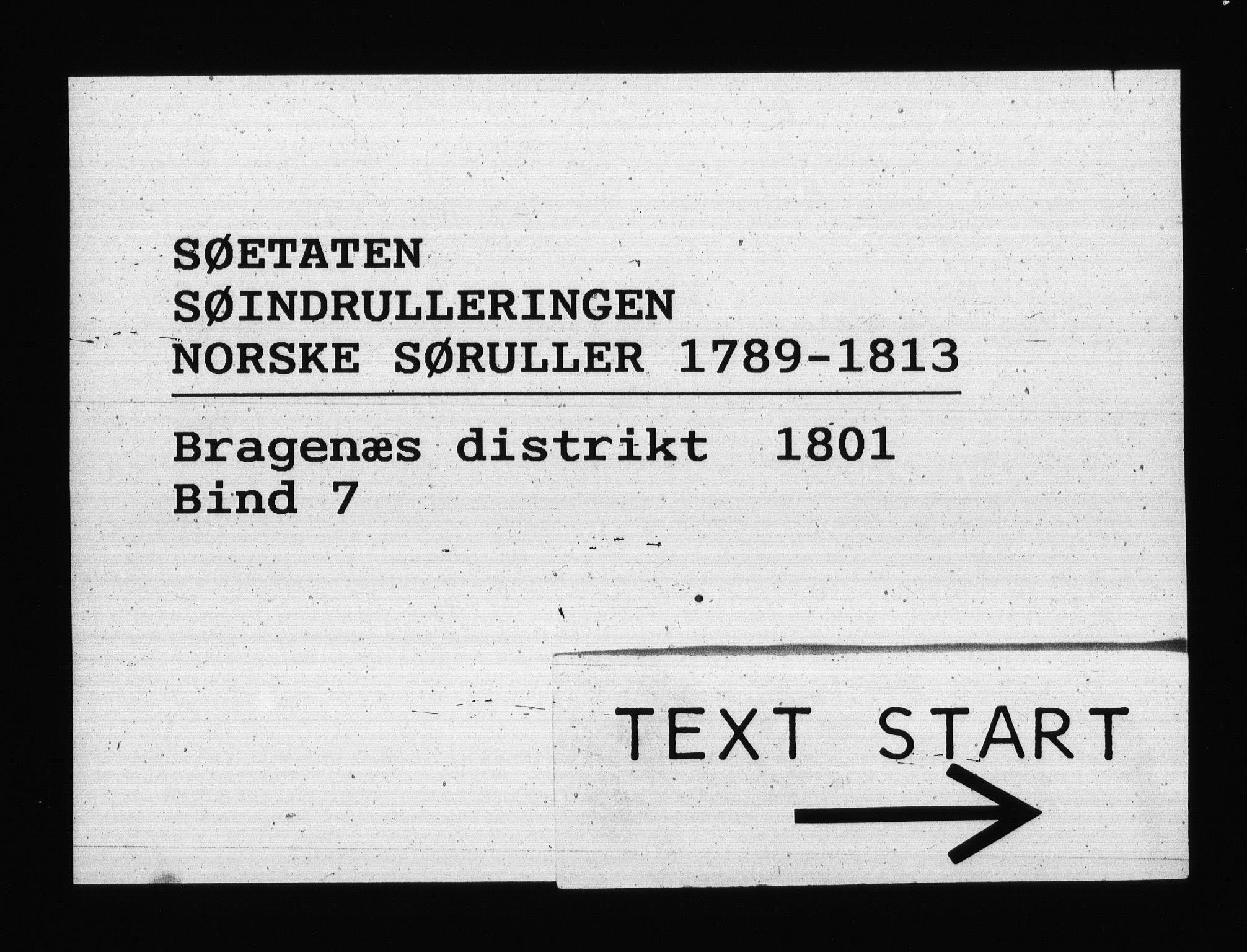 RA, Sjøetaten, F/L0140: Bragernes distrikt, bind 7, 1801