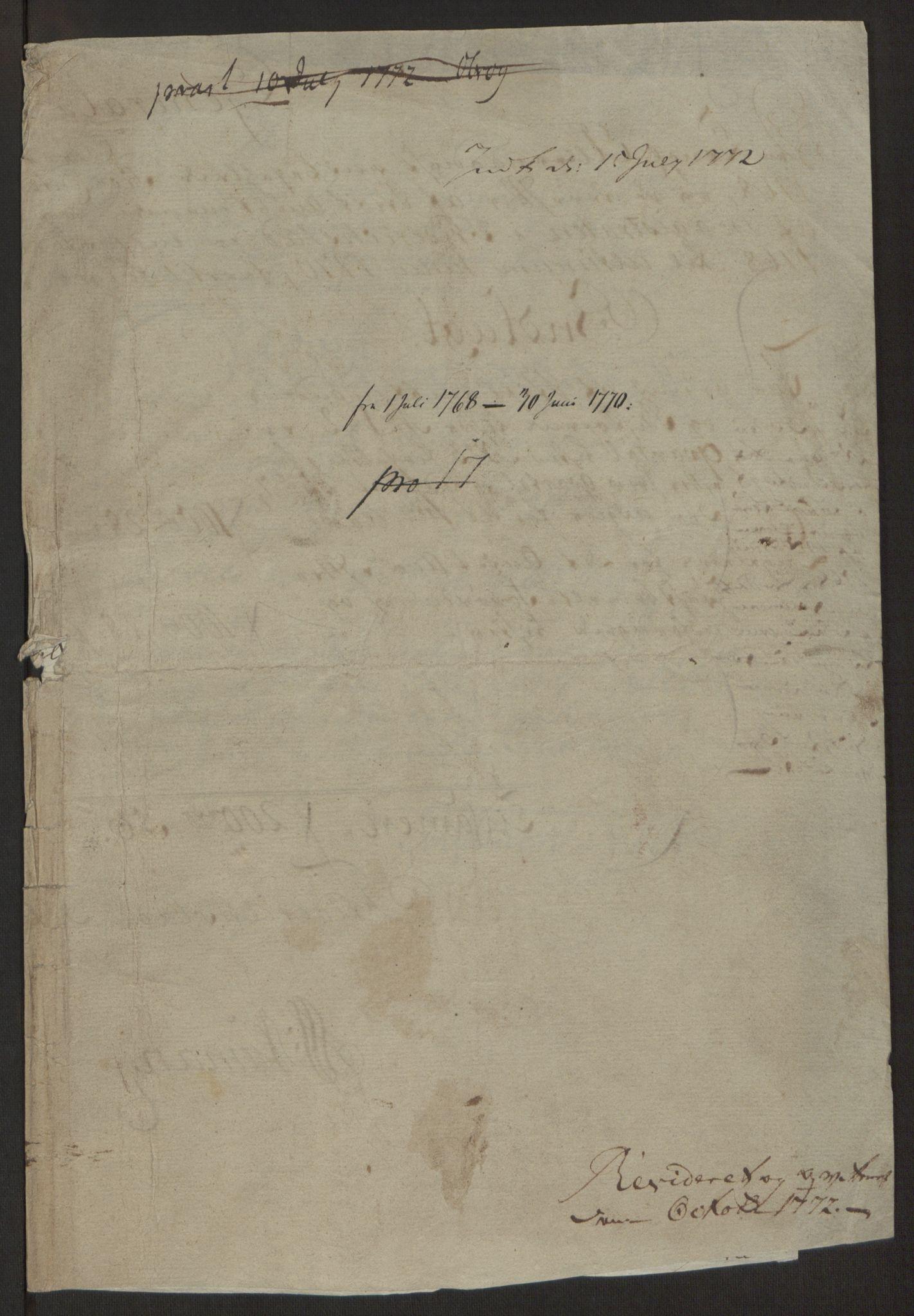 RA, Rentekammeret inntil 1814, Reviderte regnskaper, Byregnskaper, R/Rb/L0029: [B3] Kontribusjonsregnskap, 1762-1772, s. 491