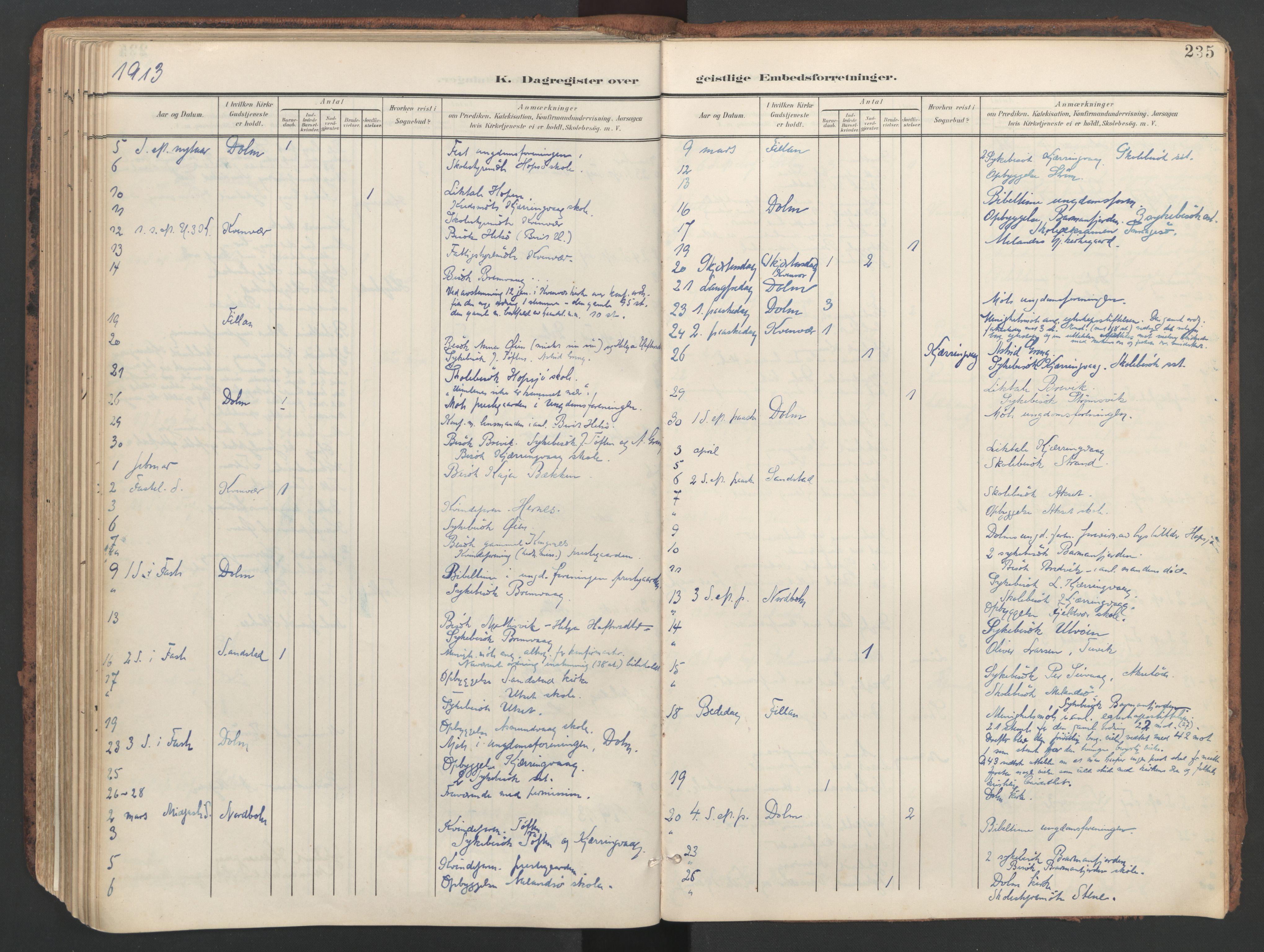 SAT, Ministerialprotokoller, klokkerbøker og fødselsregistre - Sør-Trøndelag, 634/L0537: Ministerialbok nr. 634A13, 1896-1922, s. 235