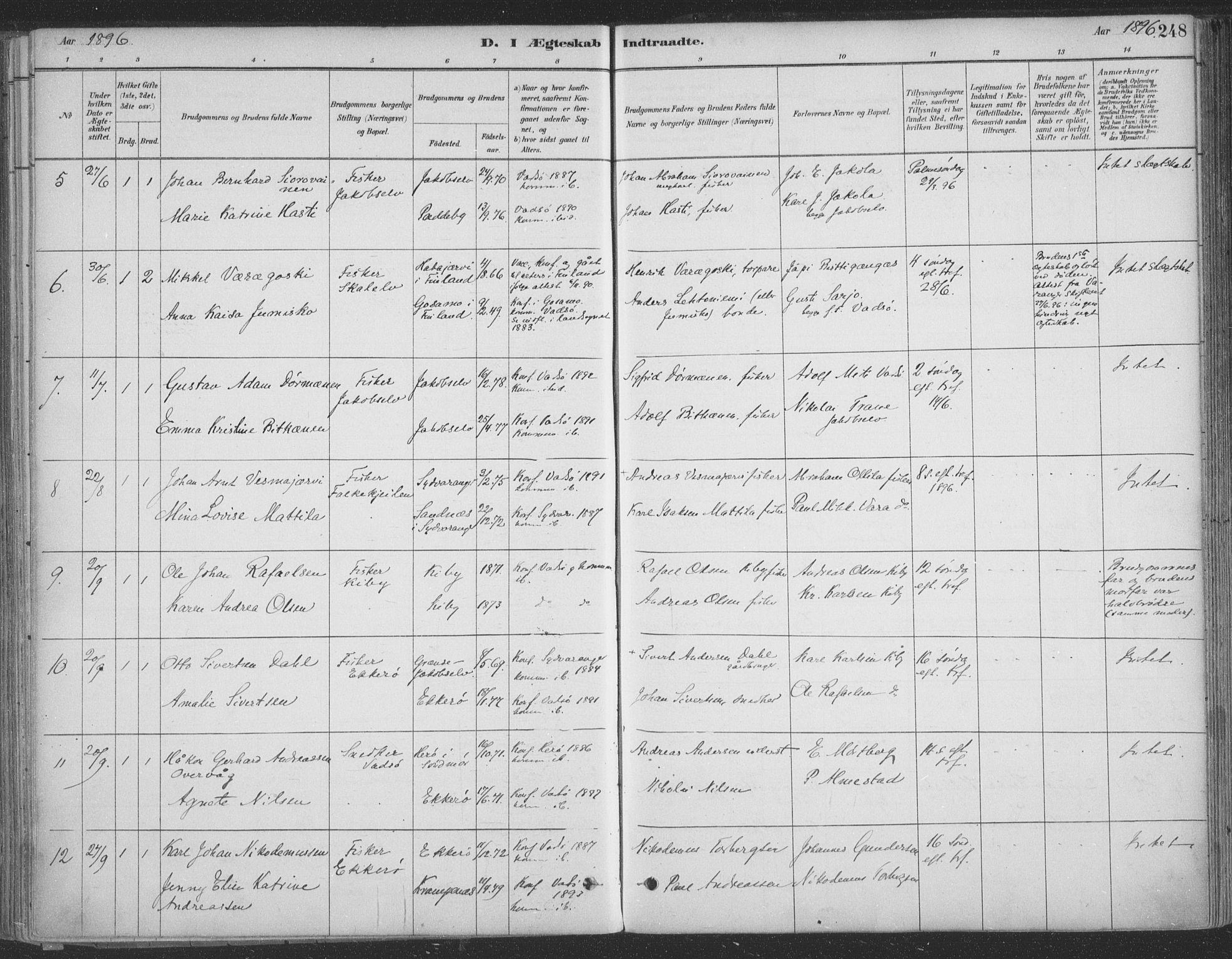 SATØ, Vadsø sokneprestkontor, H/Ha/L0009kirke: Ministerialbok nr. 9, 1881-1917, s. 248