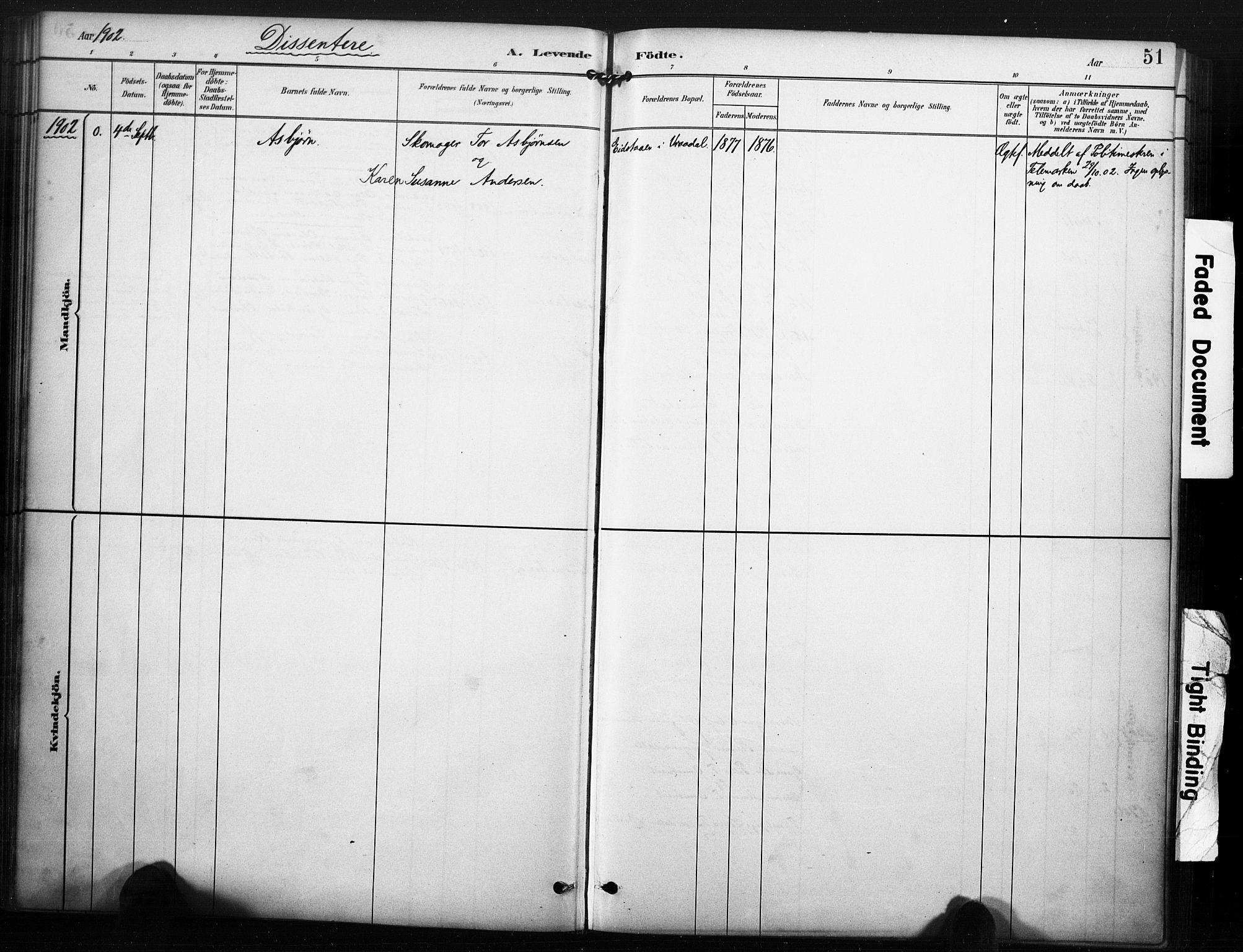 SAKO, Kviteseid kirkebøker, F/Fc/L0002: Ministerialbok nr. III 2, 1882-1908, s. 51