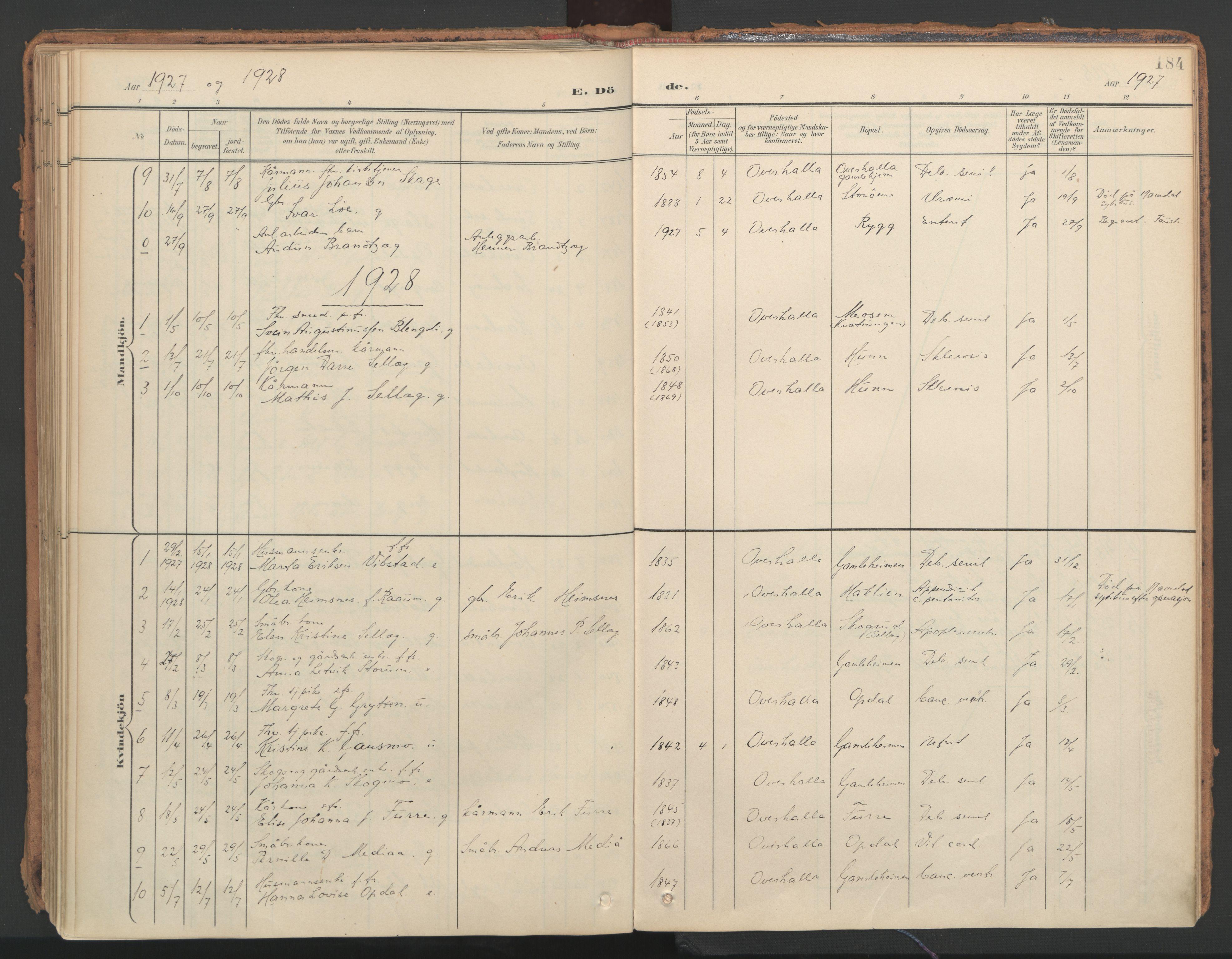 SAT, Ministerialprotokoller, klokkerbøker og fødselsregistre - Nord-Trøndelag, 766/L0564: Ministerialbok nr. 767A02, 1900-1932, s. 184