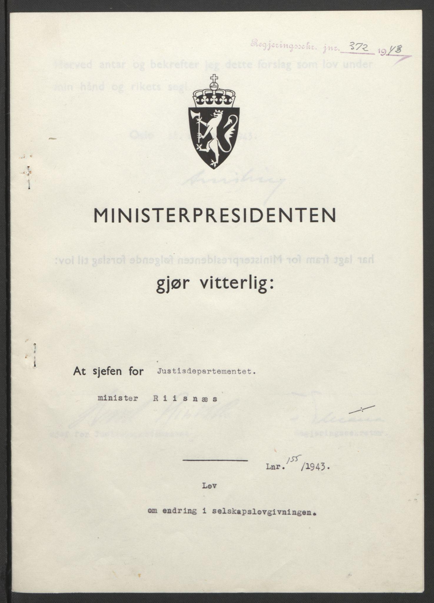 RA, NS-administrasjonen 1940-1945 (Statsrådsekretariatet, de kommisariske statsråder mm), D/Db/L0099: Lover, 1943, s. 735
