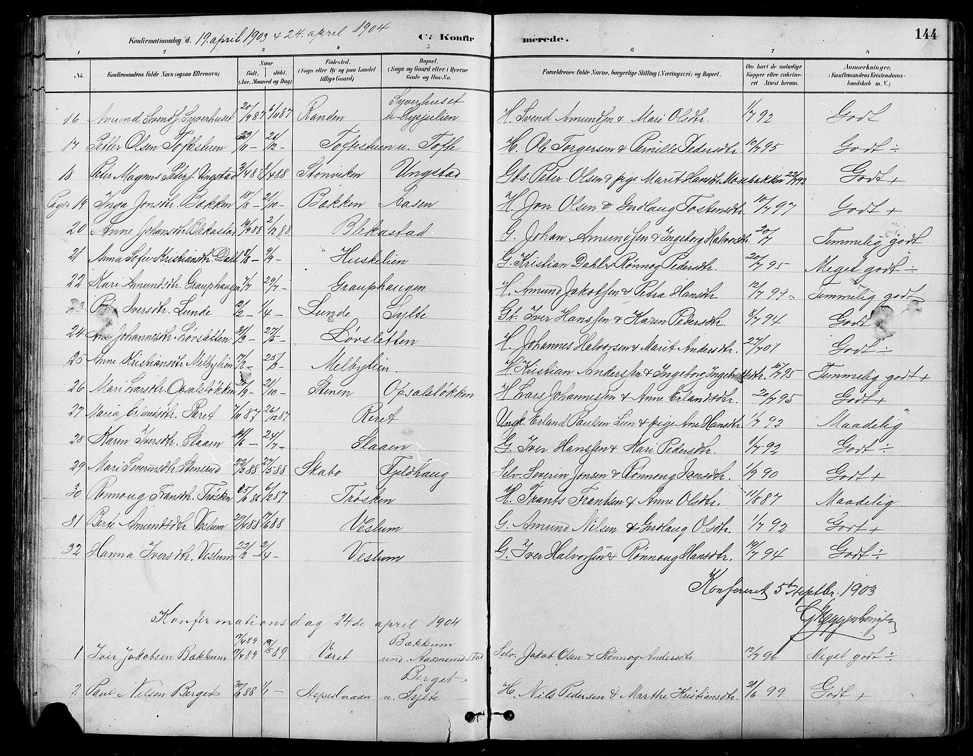 SAH, Nord-Fron prestekontor, Klokkerbok nr. 5, 1884-1914, s. 144