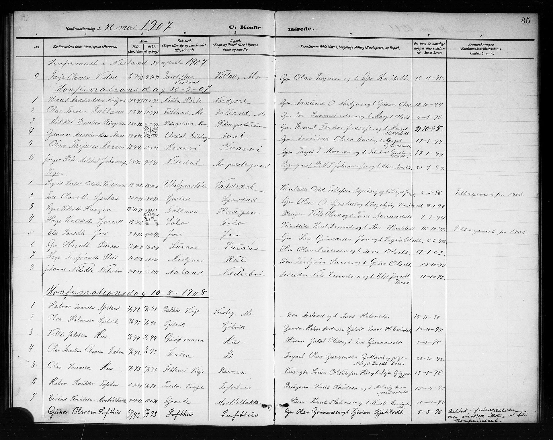 SAKO, Mo kirkebøker, G/Ga/L0002: Klokkerbok nr. I 2, 1892-1914, s. 85