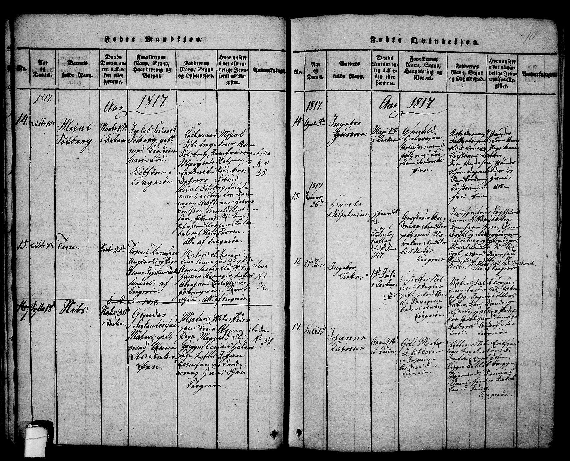 SAKO, Kragerø kirkebøker, G/Ga/L0002: Klokkerbok nr. 2, 1814-1831, s. 19