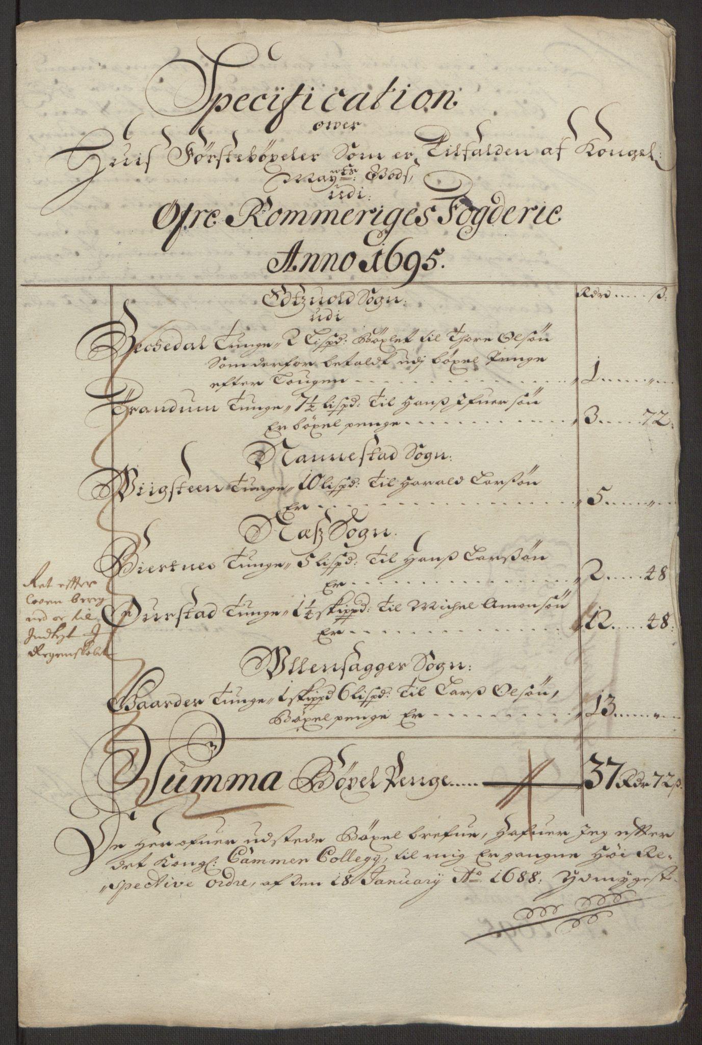 RA, Rentekammeret inntil 1814, Reviderte regnskaper, Fogderegnskap, R12/L0707: Fogderegnskap Øvre Romerike, 1695, s. 17