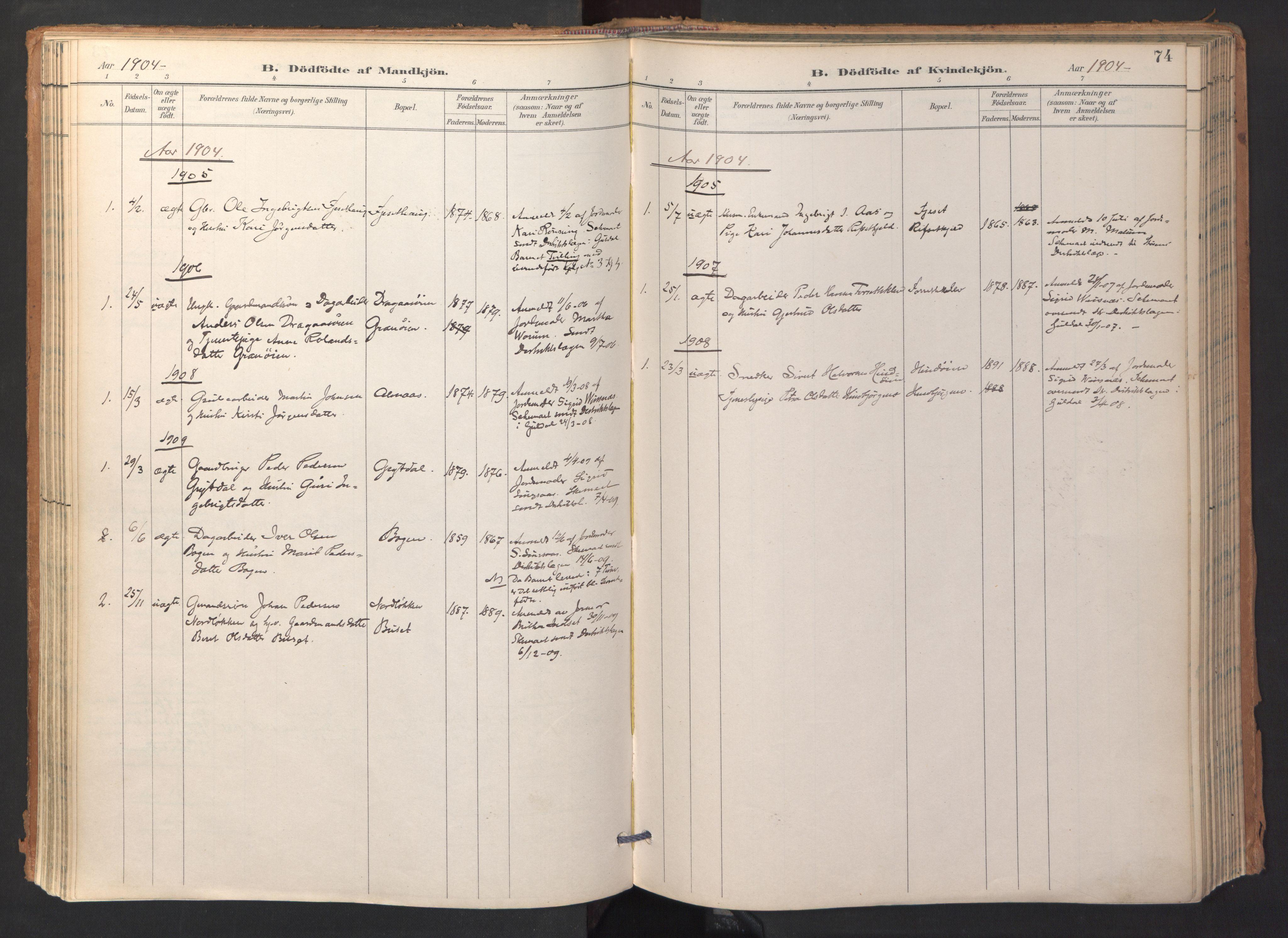 SAT, Ministerialprotokoller, klokkerbøker og fødselsregistre - Sør-Trøndelag, 688/L1025: Ministerialbok nr. 688A02, 1891-1909, s. 74