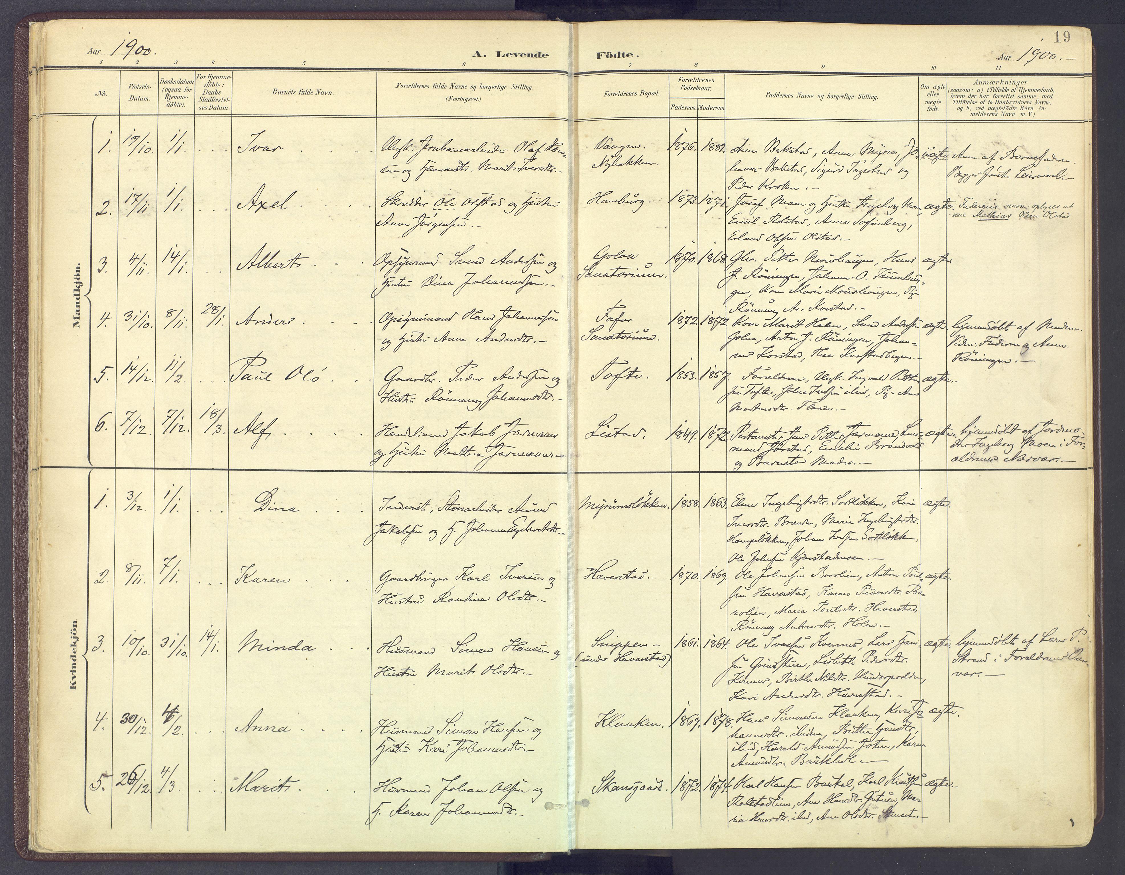 SAH, Sør-Fron prestekontor, H/Ha/Haa/L0004: Ministerialbok nr. 4, 1898-1919, s. 19