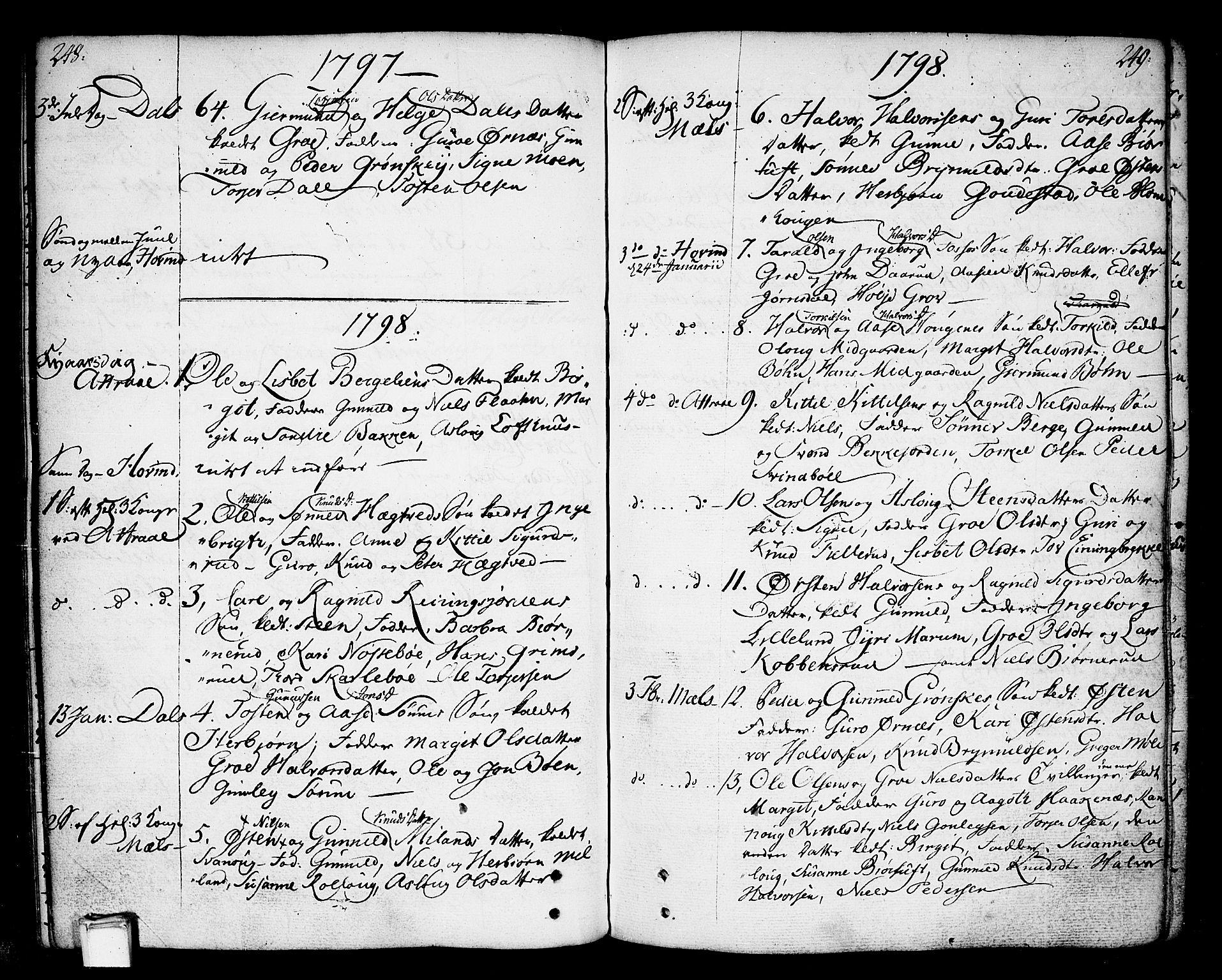 SAKO, Tinn kirkebøker, F/Fa/L0002: Ministerialbok nr. I 2, 1757-1810, s. 248-249