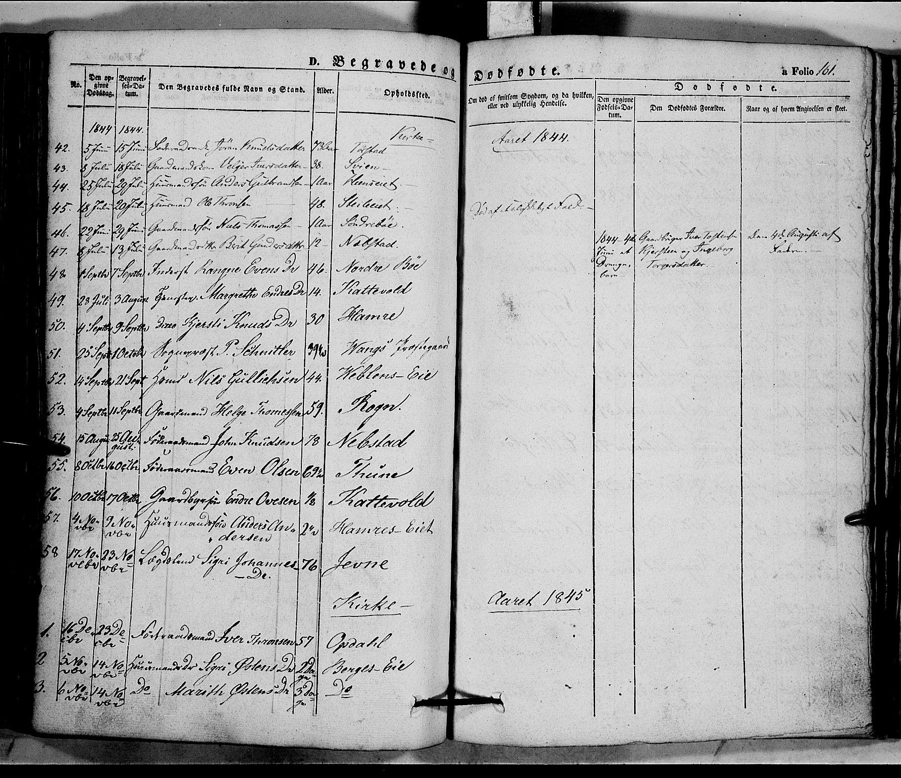 SAH, Vang prestekontor, Valdres, Ministerialbok nr. 5, 1831-1845, s. 161