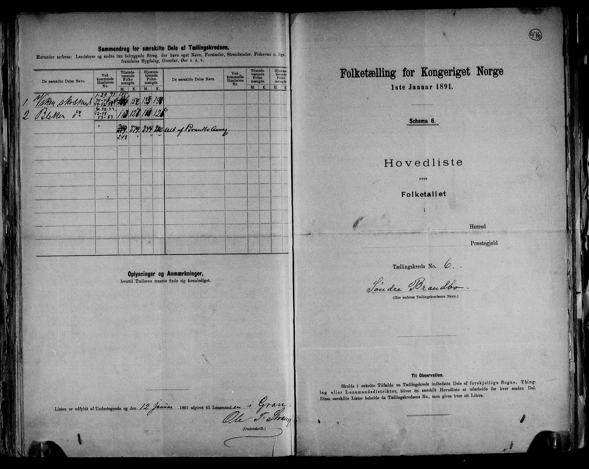RA, Folketelling 1891 for 0534 Gran herred, 1891, s. 15