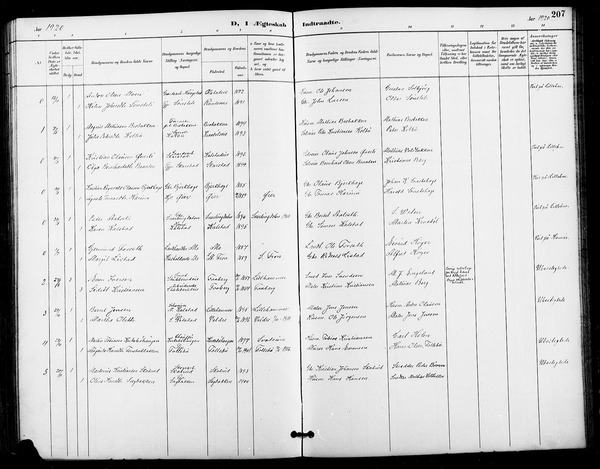 SAH, Vestre Gausdal prestekontor, Klokkerbok nr. 3, 1896-1925, s. 207