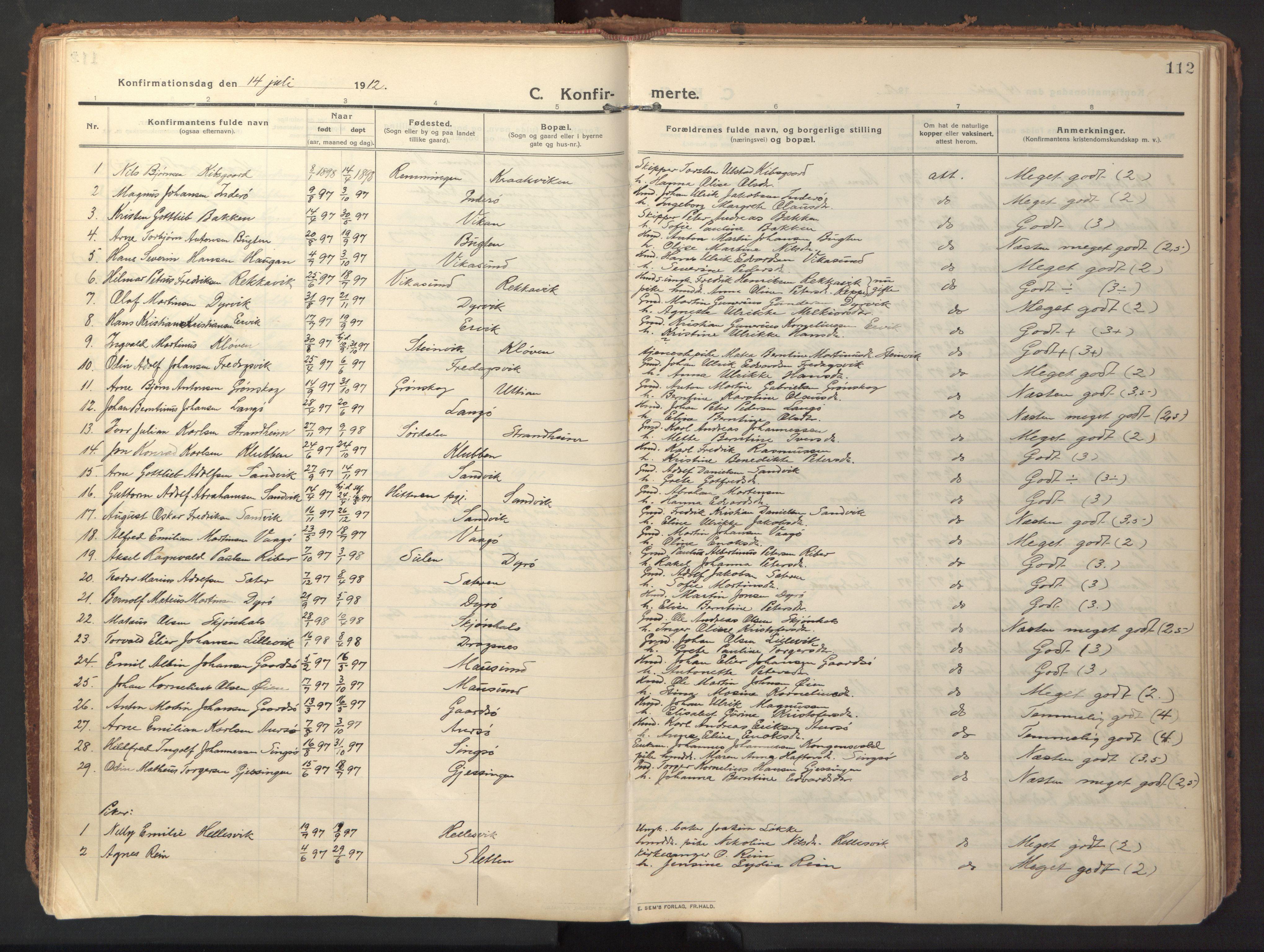 SAT, Ministerialprotokoller, klokkerbøker og fødselsregistre - Sør-Trøndelag, 640/L0581: Ministerialbok nr. 640A06, 1910-1924, s. 112