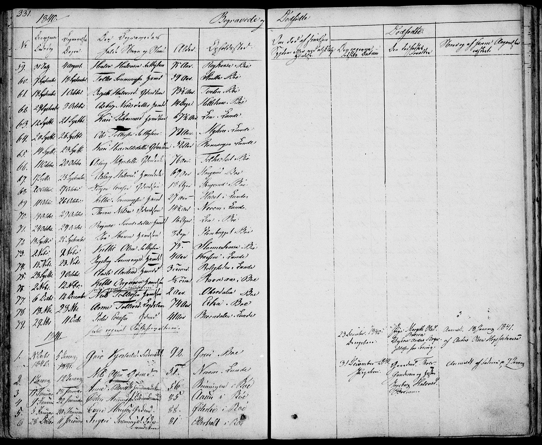 SAKO, Bø kirkebøker, F/Fa/L0007: Ministerialbok nr. 7, 1831-1848, s. 331