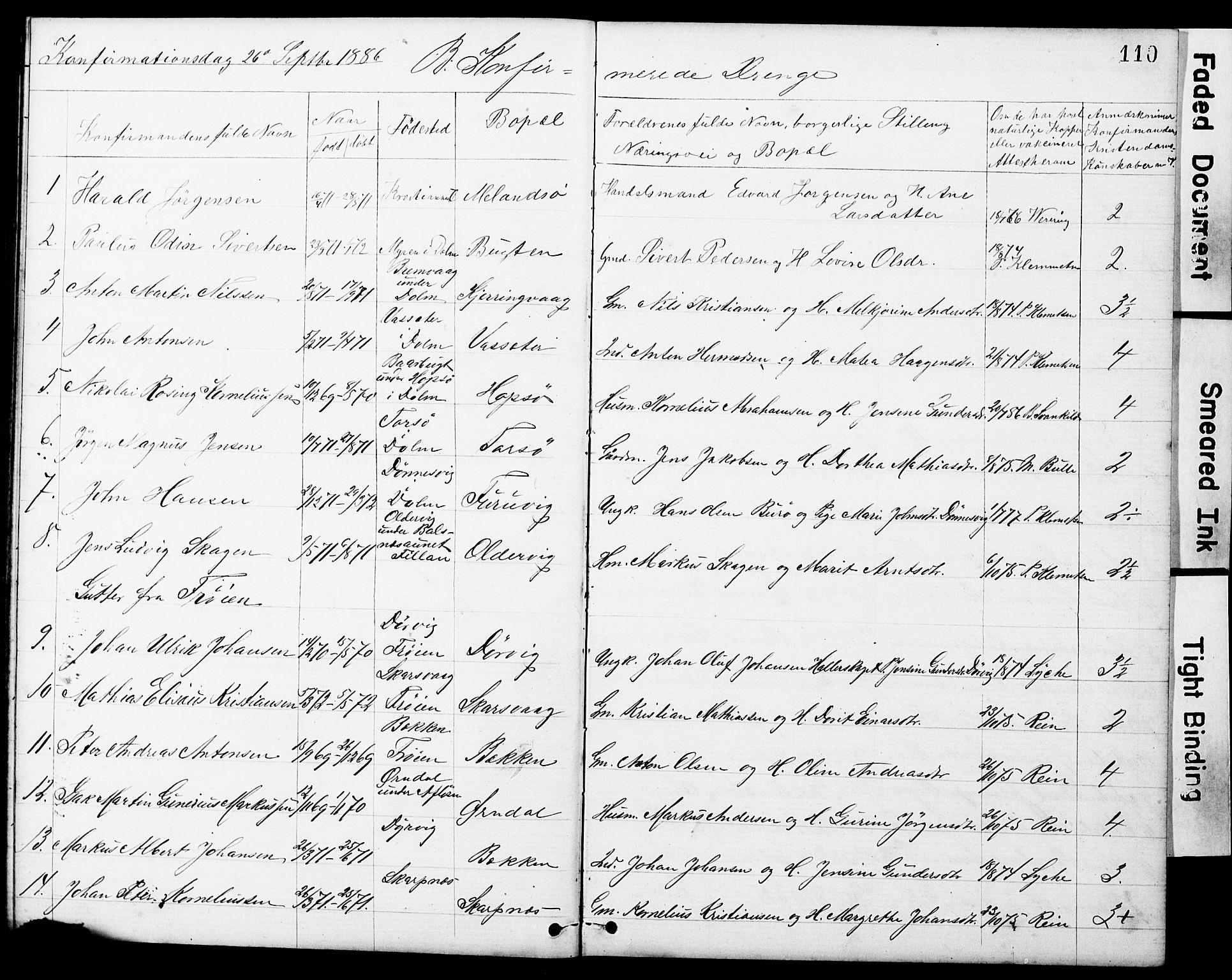 SAT, Ministerialprotokoller, klokkerbøker og fødselsregistre - Sør-Trøndelag, 634/L0541: Klokkerbok nr. 634C03, 1874-1891, s. 110