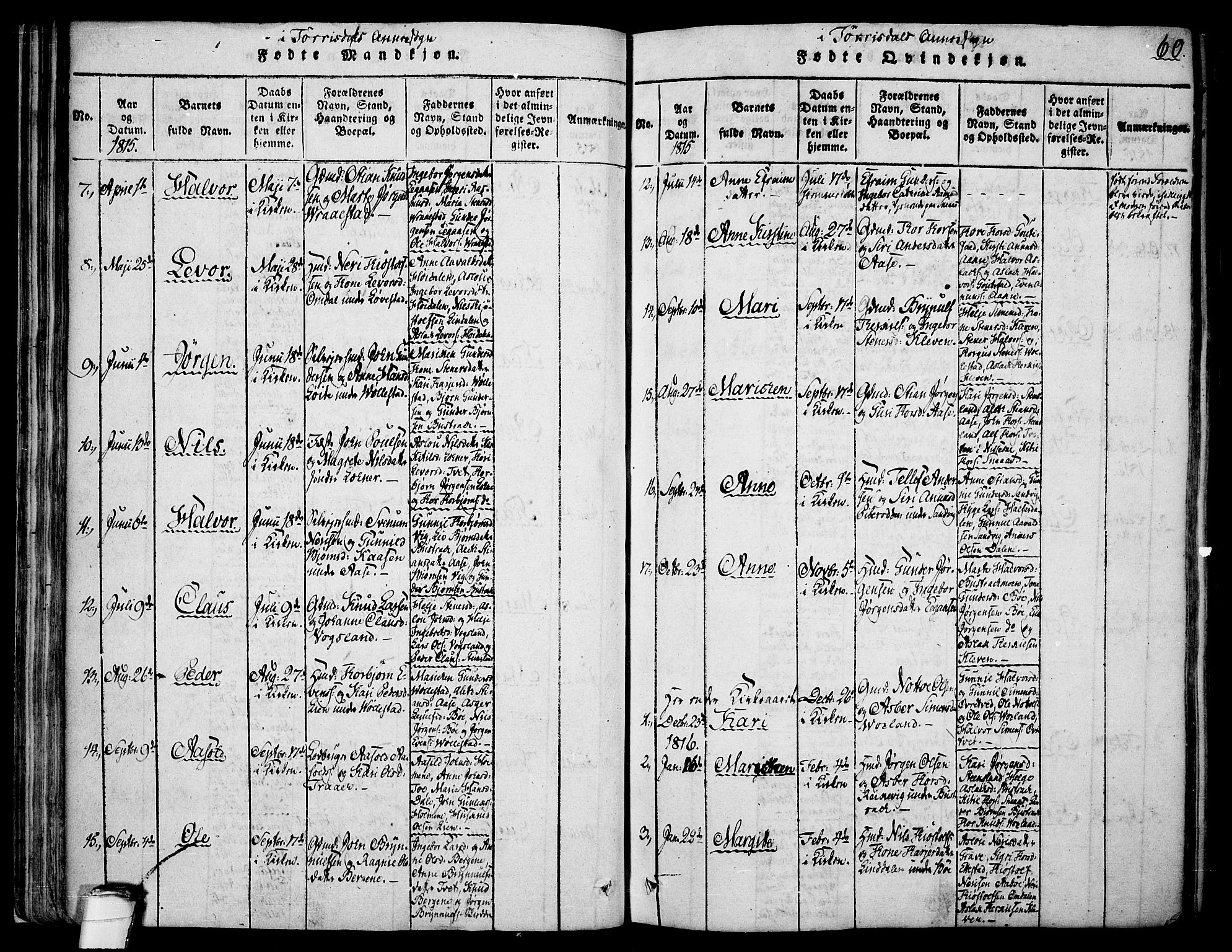 SAKO, Drangedal kirkebøker, F/Fa/L0005: Ministerialbok nr. 5 /2, 1814-1831, s. 60