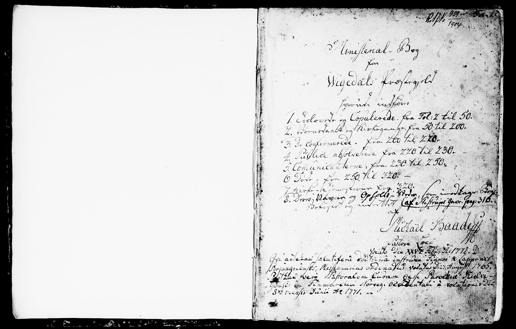 SAST, Vikedal sokneprestkontor, IV: Ministerialbok nr. A 2, 1779-1817, s. 1