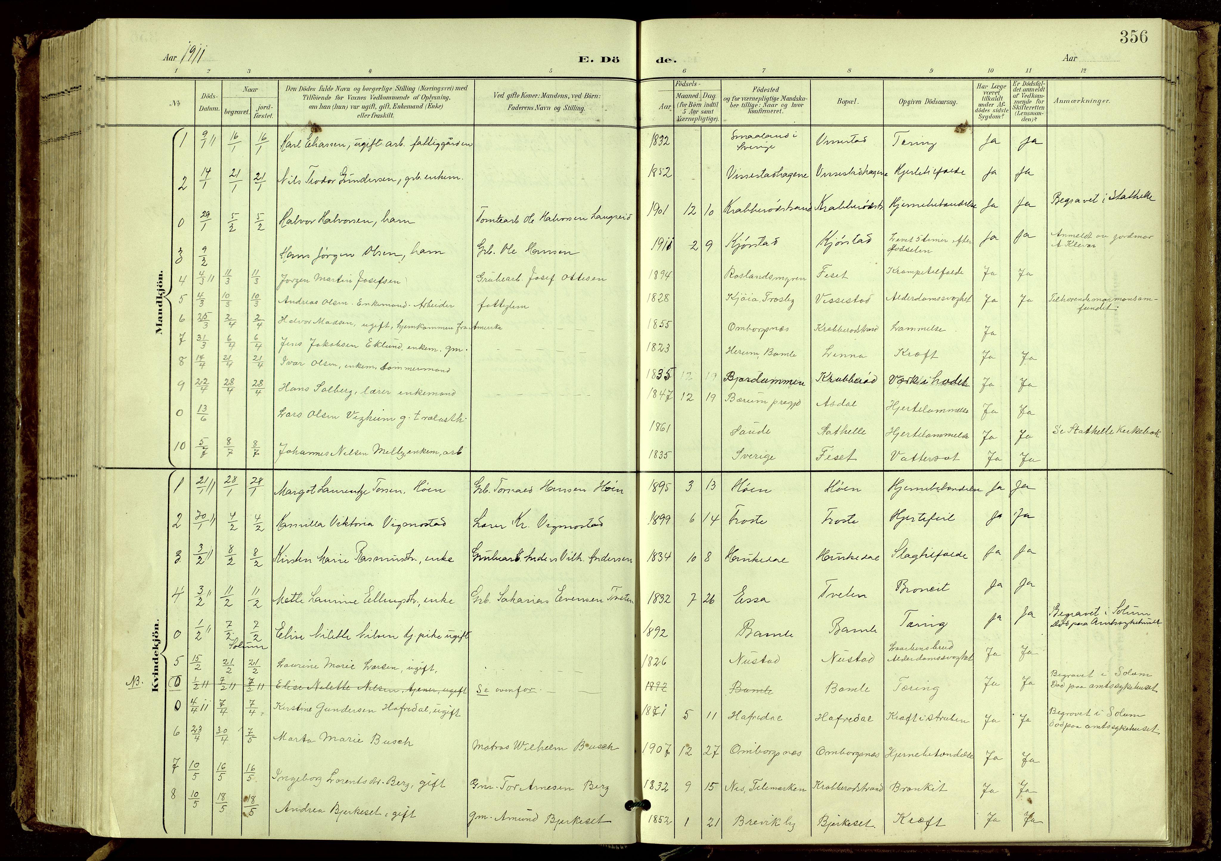 SAKO, Bamble kirkebøker, G/Ga/L0010: Klokkerbok nr. I 10, 1901-1919, s. 356