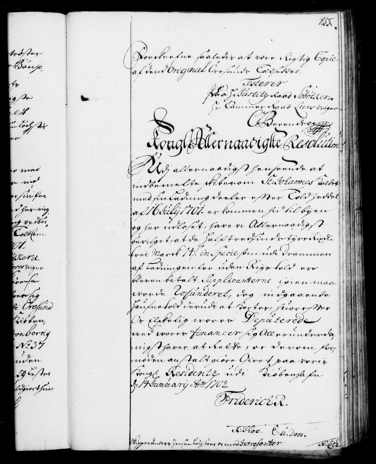 RA, Rentekammeret, Kammerkanselliet, G/Gf/Gfa/L0001: Resolusjonsprotokoll med register (merket RK 52.1), 1695-1706, s. 155