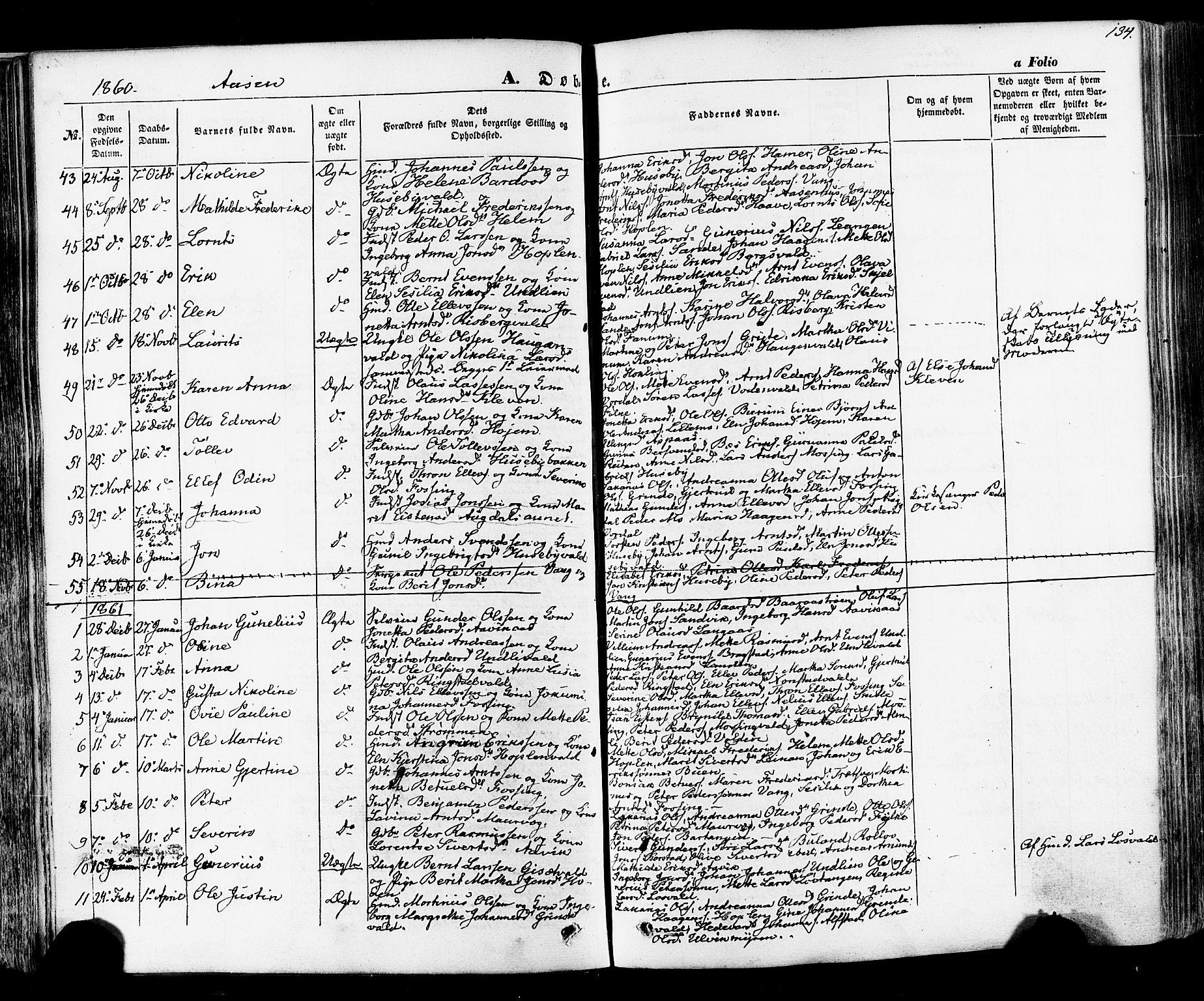 SAT, Ministerialprotokoller, klokkerbøker og fødselsregistre - Nord-Trøndelag, 713/L0116: Ministerialbok nr. 713A07 /2, 1850-1877, s. 134
