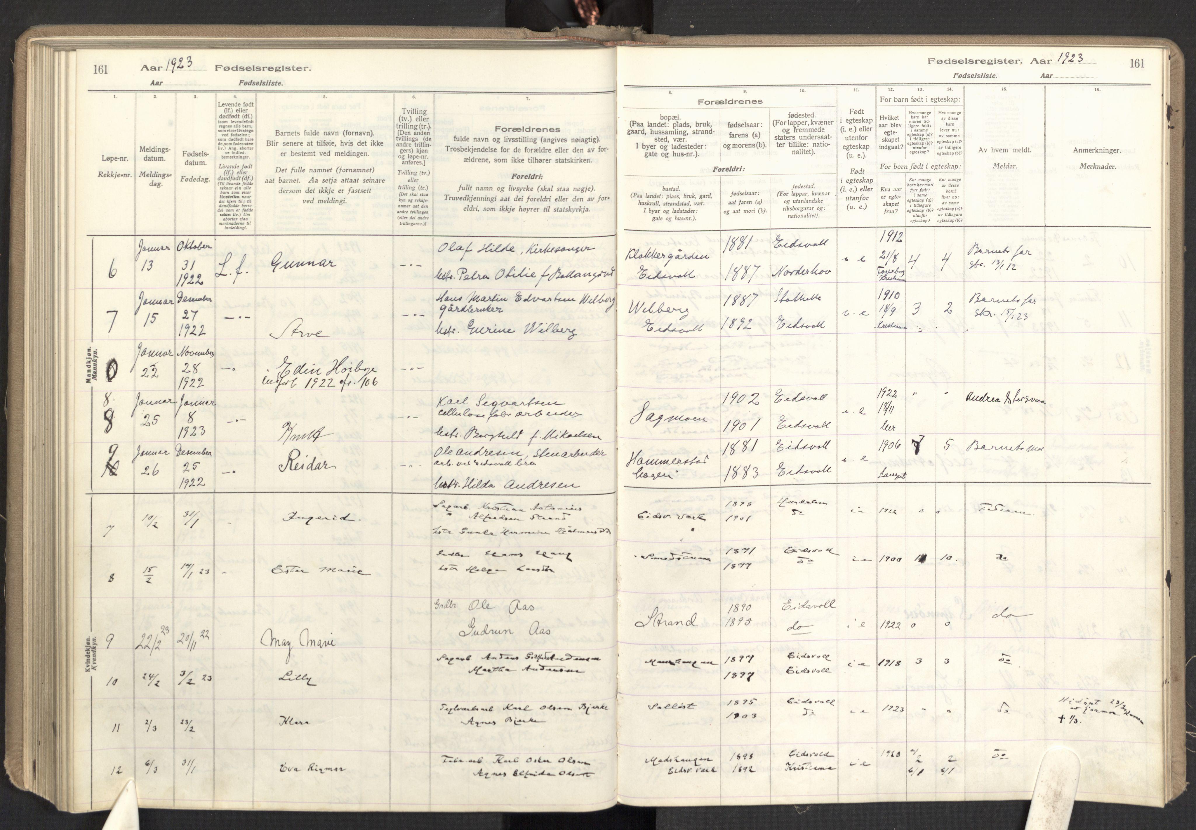 SAO, Eidsvoll prestekontor Kirkebøker, Fødselsregister nr. I 1, 1916-1924, s. 161