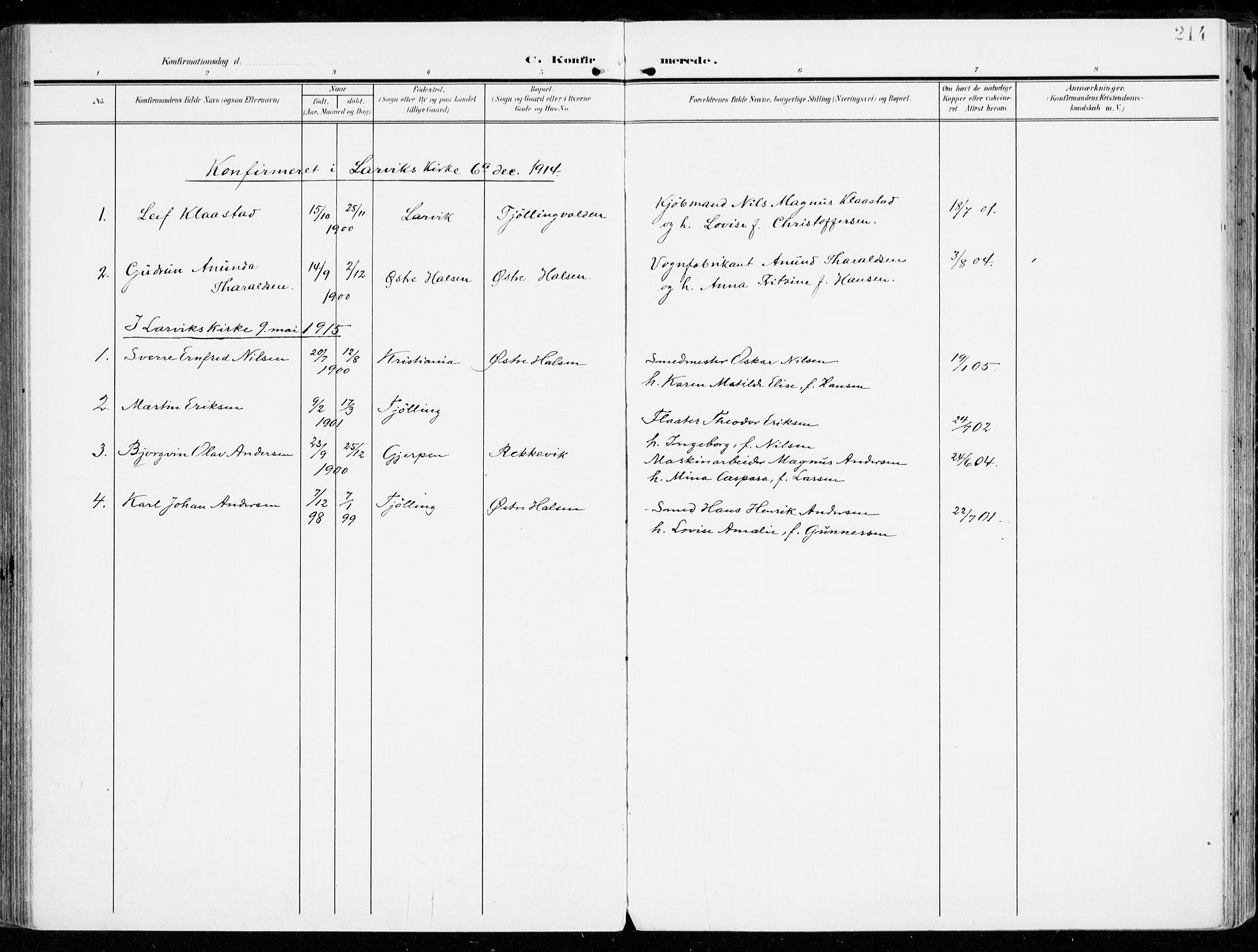 SAKO, Tjølling kirkebøker, F/Fa/L0010: Ministerialbok nr. 10, 1906-1923, s. 214