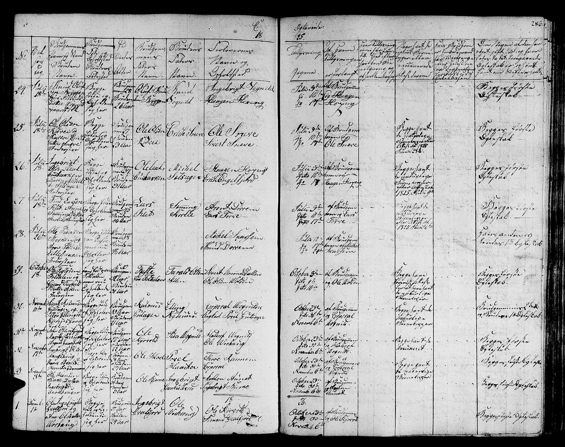 SAT, Ministerialprotokoller, klokkerbøker og fødselsregistre - Sør-Trøndelag, 678/L0897: Ministerialbok nr. 678A06-07, 1821-1847, s. 286