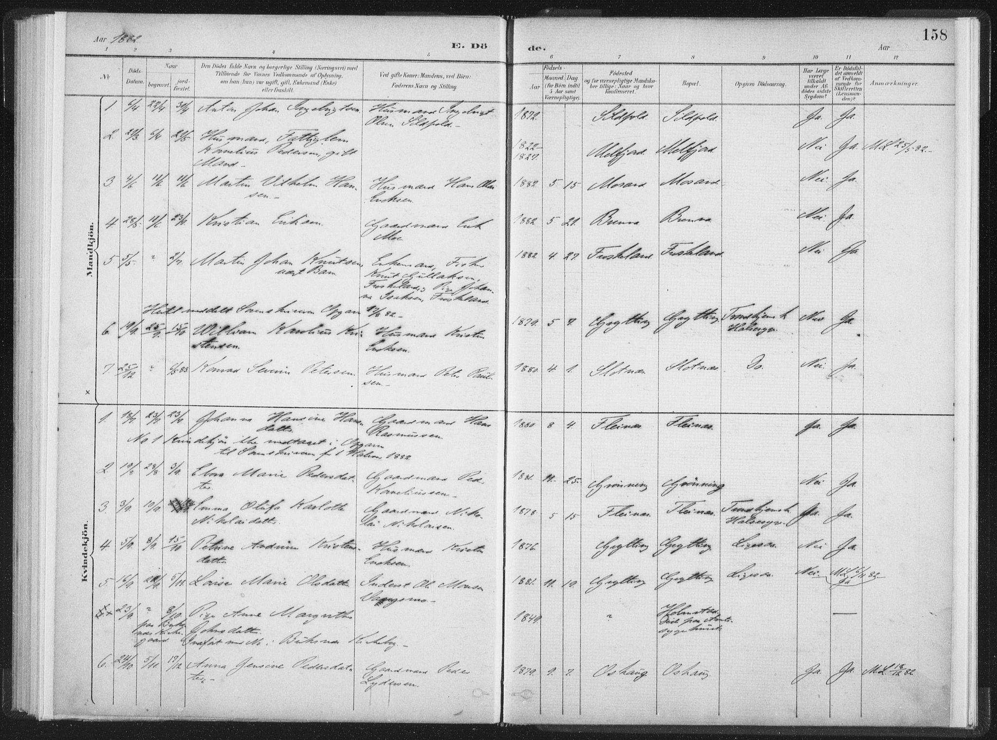 SAT, Ministerialprotokoller, klokkerbøker og fødselsregistre - Nordland, 890/L1286: Ministerialbok nr. 890A01, 1882-1902, s. 158