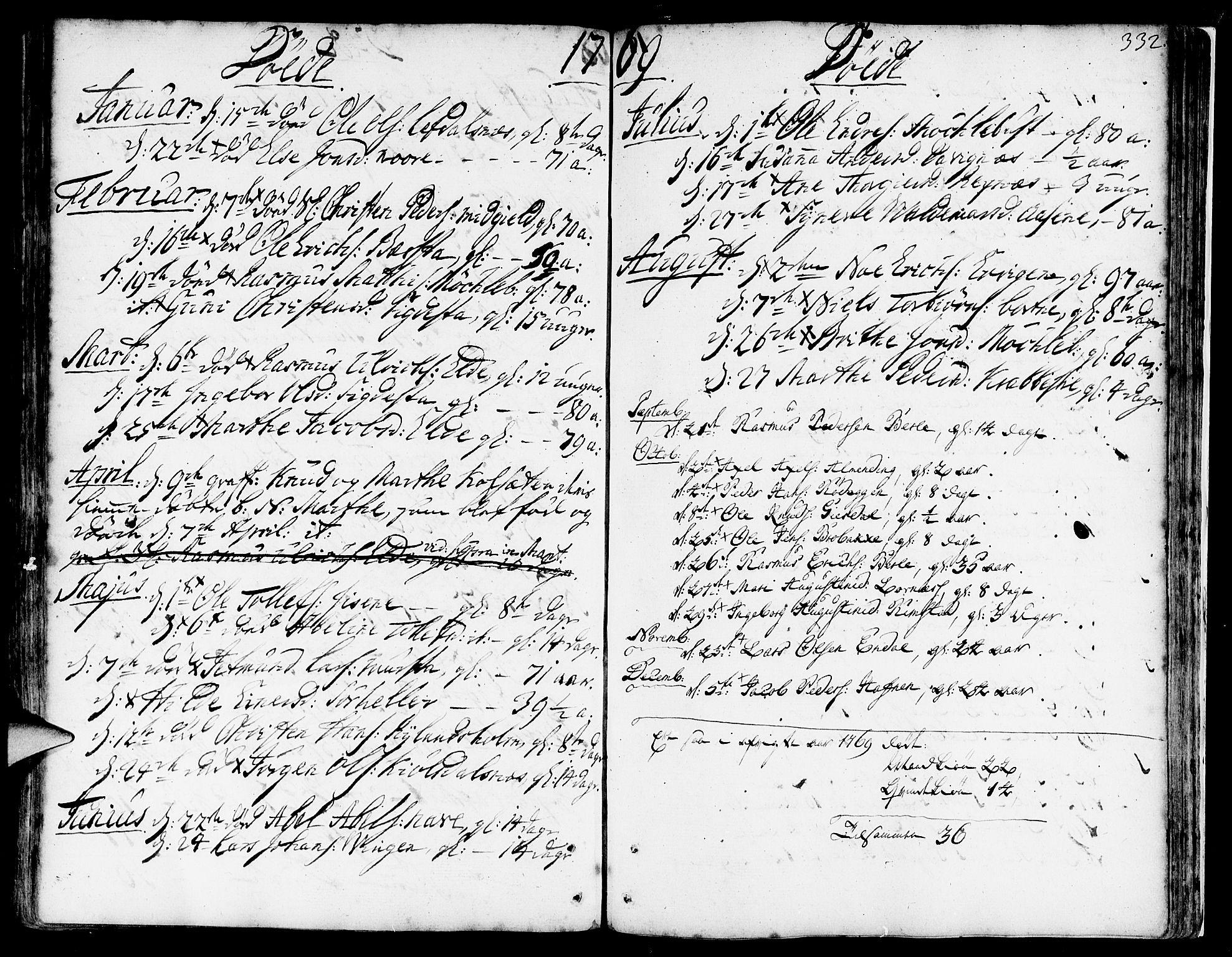 SAB, Davik Sokneprestembete, Ministerialbok nr. A 2, 1742-1816, s. 332