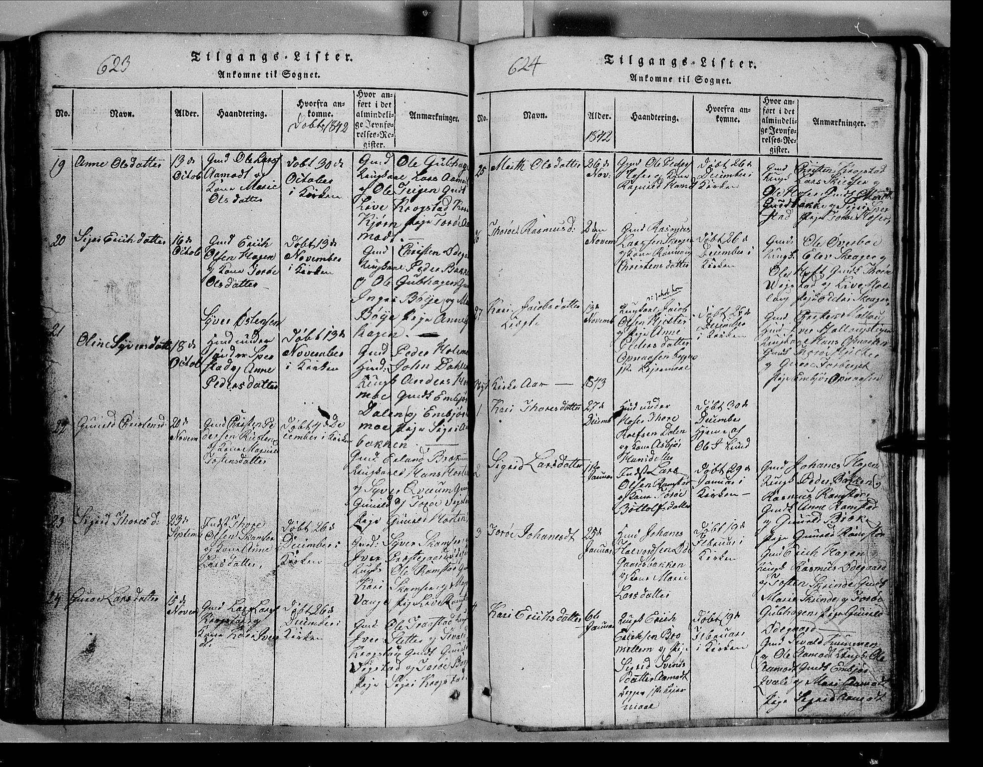 SAH, Lom prestekontor, L/L0003: Klokkerbok nr. 3, 1815-1844, s. 623-624